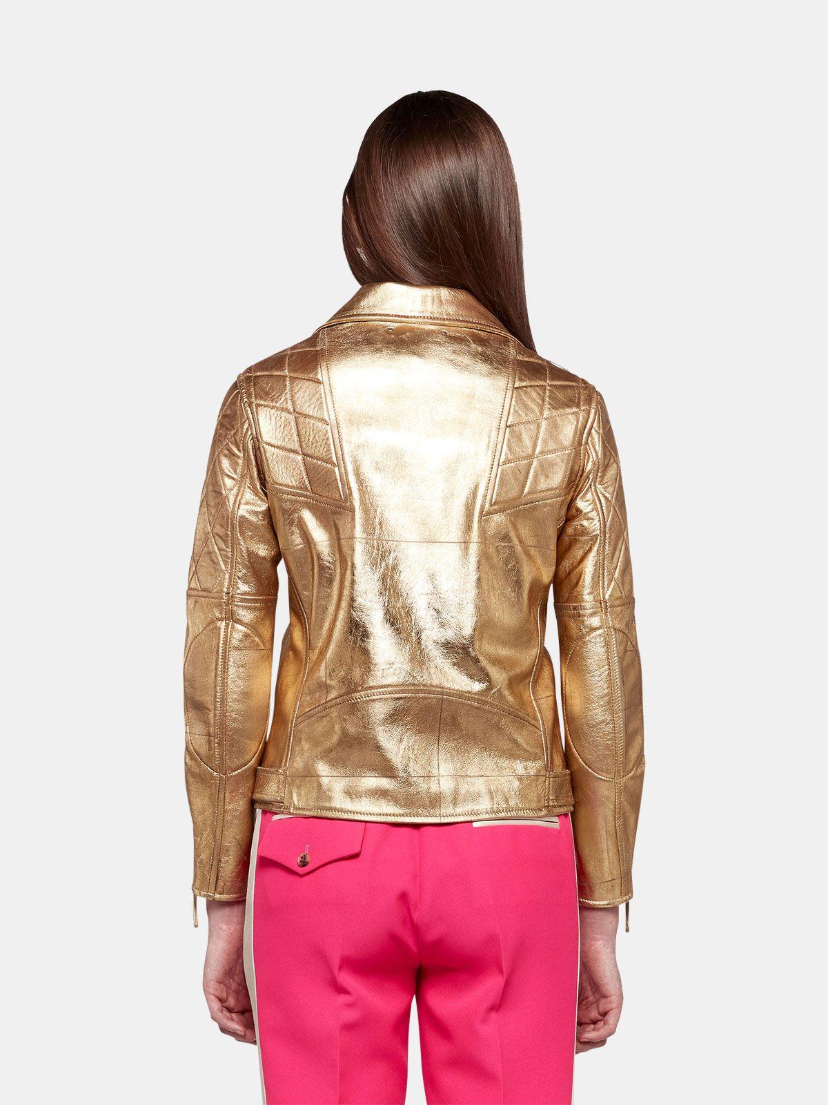 Golden Goose - Chiodo Yasu in pelle  dorata con stampa stella in