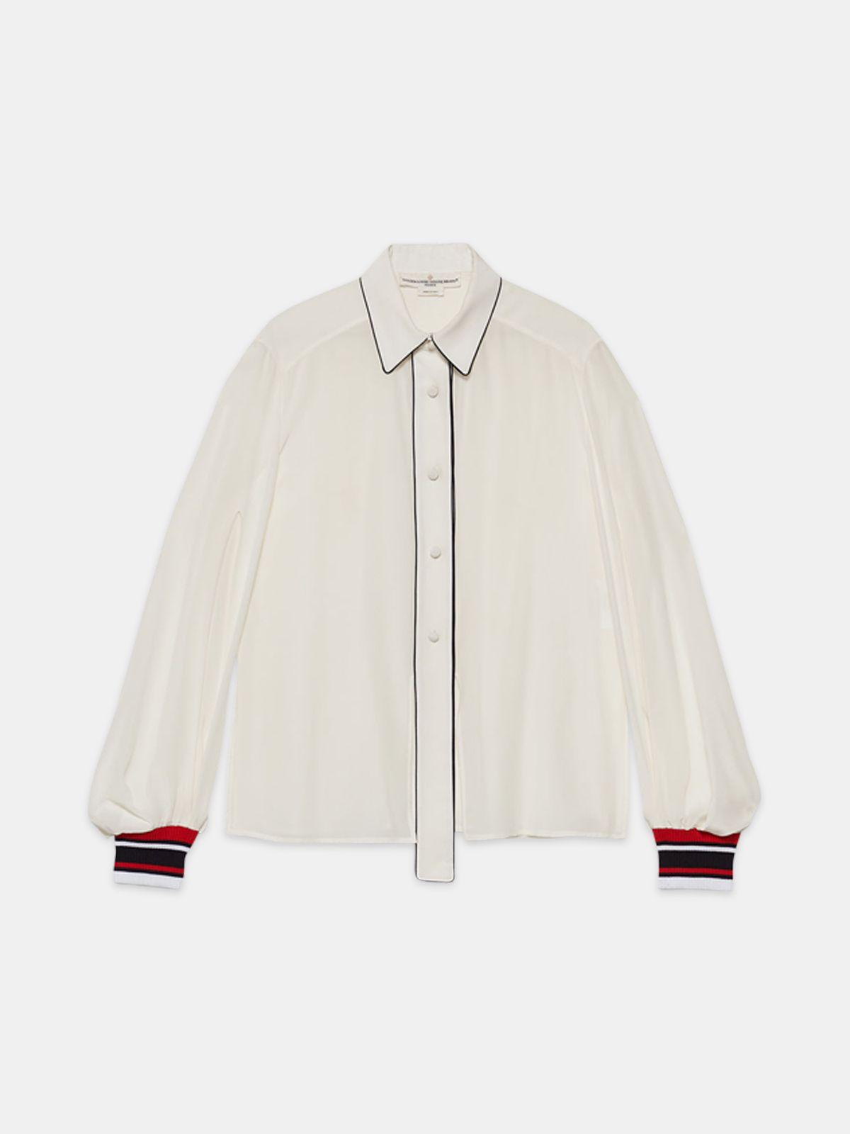 Golden Goose - Camicia Isako in pura seta con dettagli a contrasto in