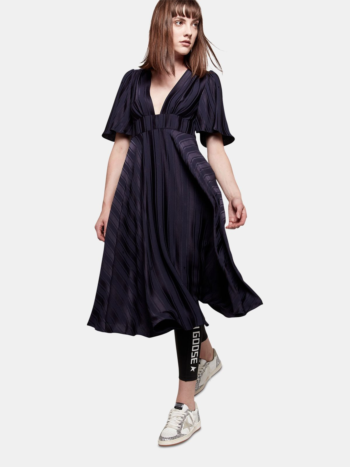 Golden Goose - Hana dress with belt at the waist and ruffles on the back in