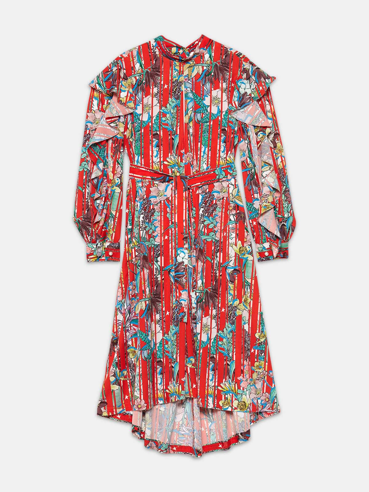 Golden Goose - Chieko dress in floral fabric with ruffles in