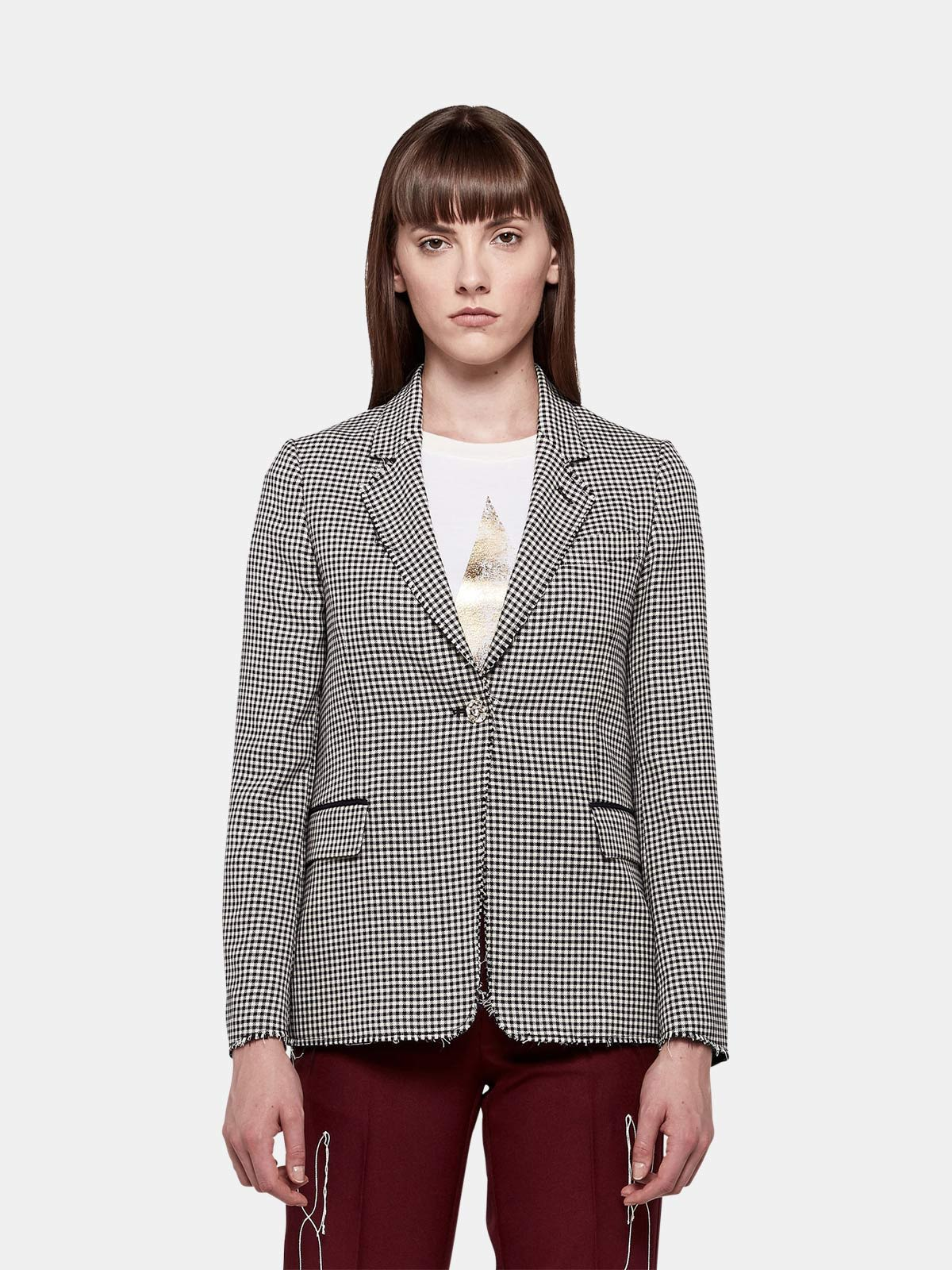 Golden Goose - Giacca Golden monopetto in lana gingham in