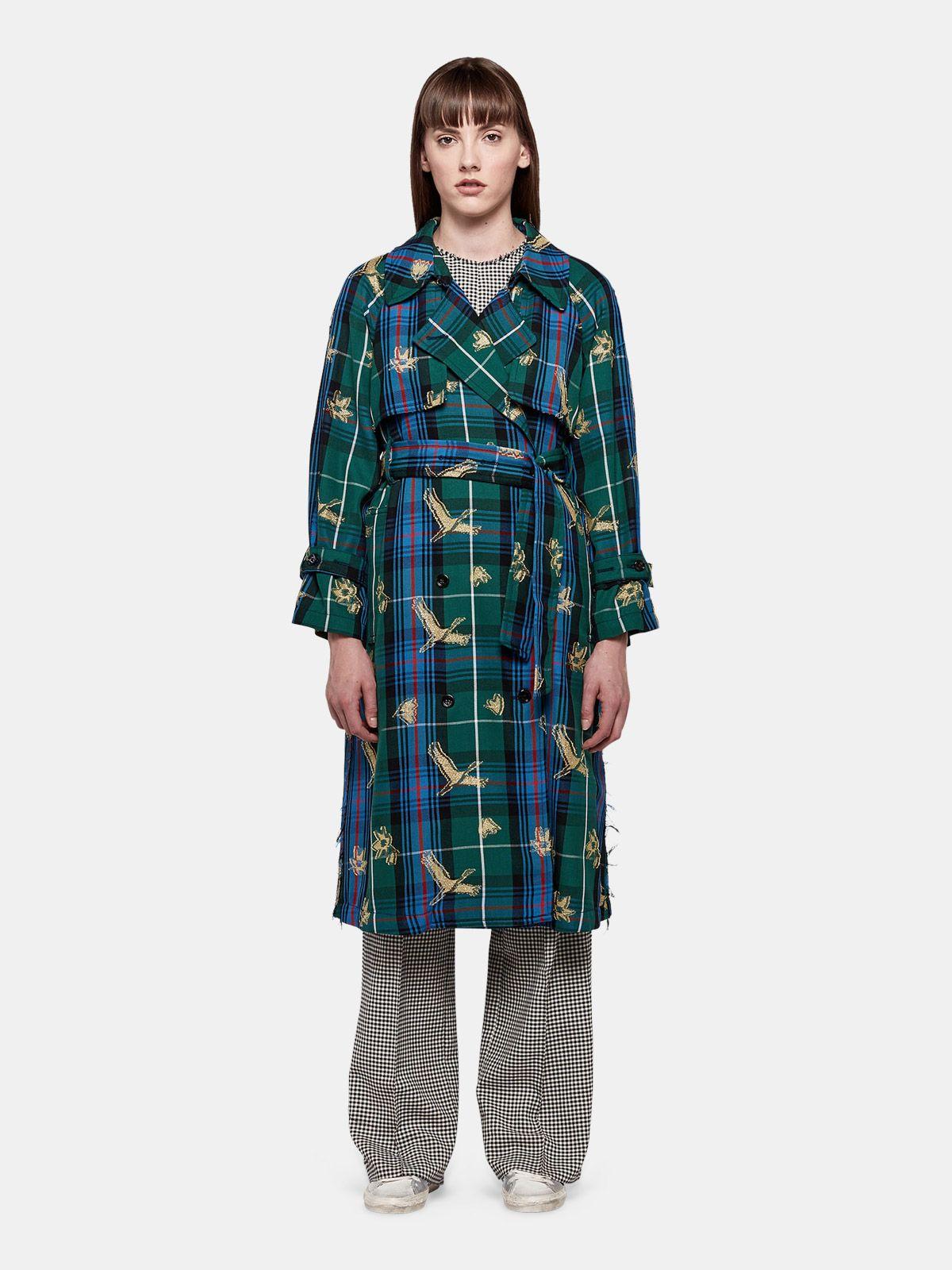 Golden Goose - Masami trenchcoat in tartan with jacquard plumetis patterns in