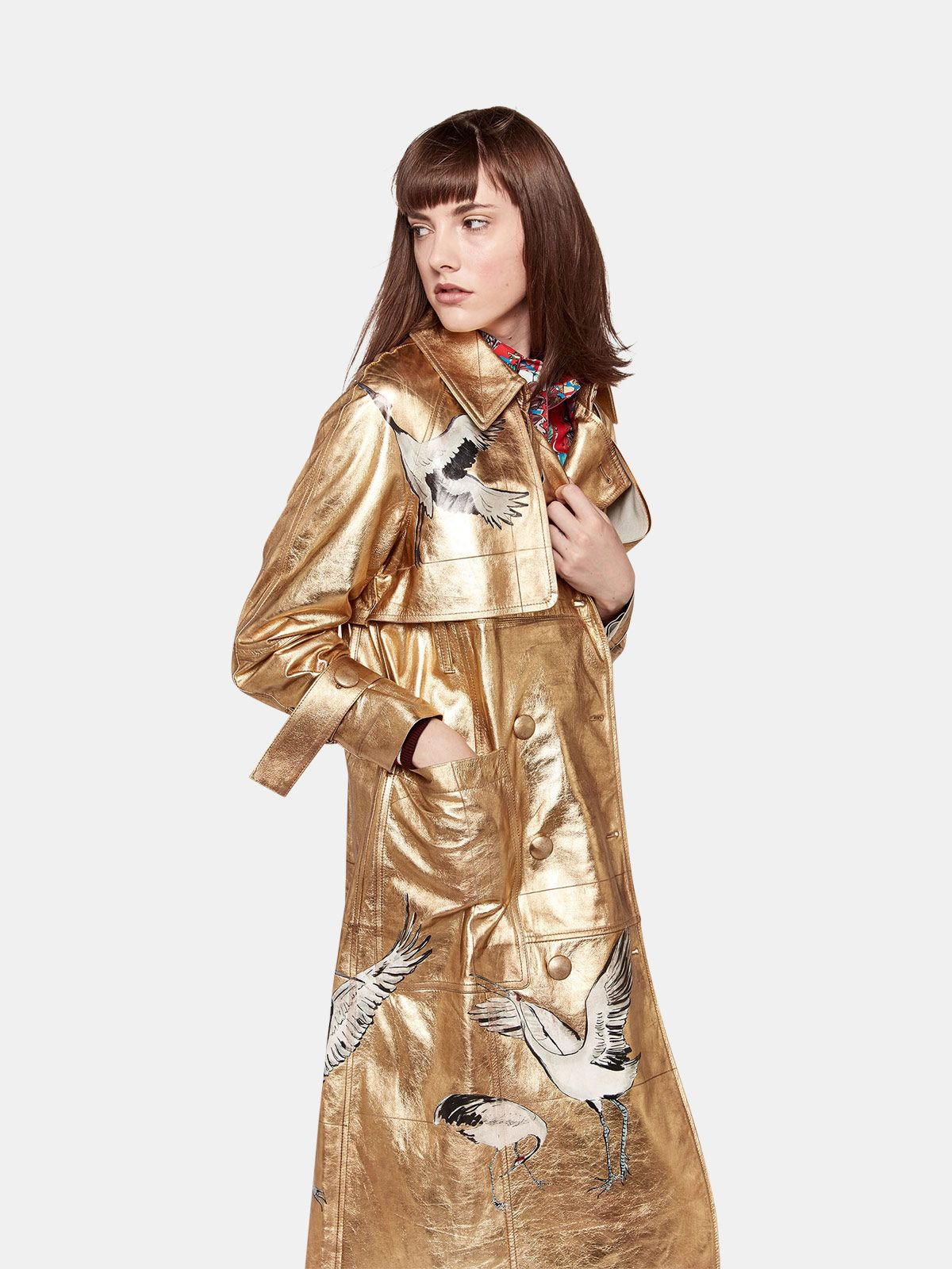 Golden Goose - Trench Masami in pelle con stampe   in