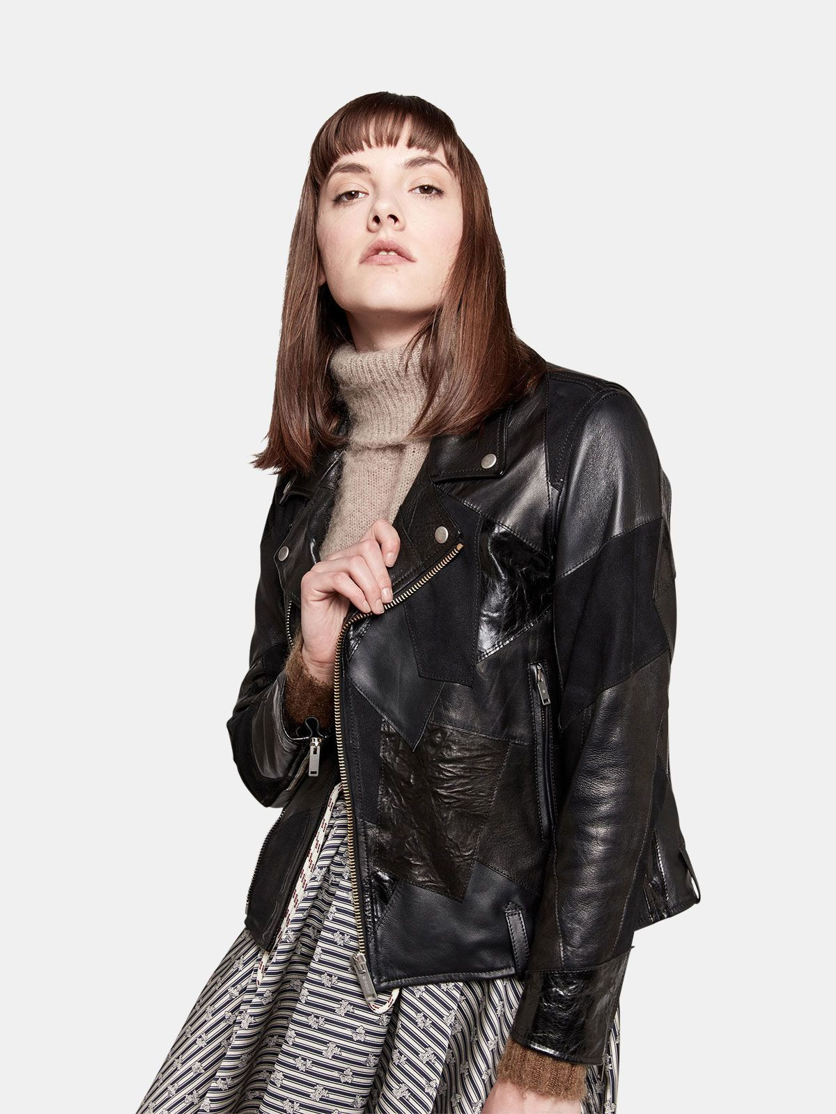 Golden Goose - Patchwork effect leather biker jacket in