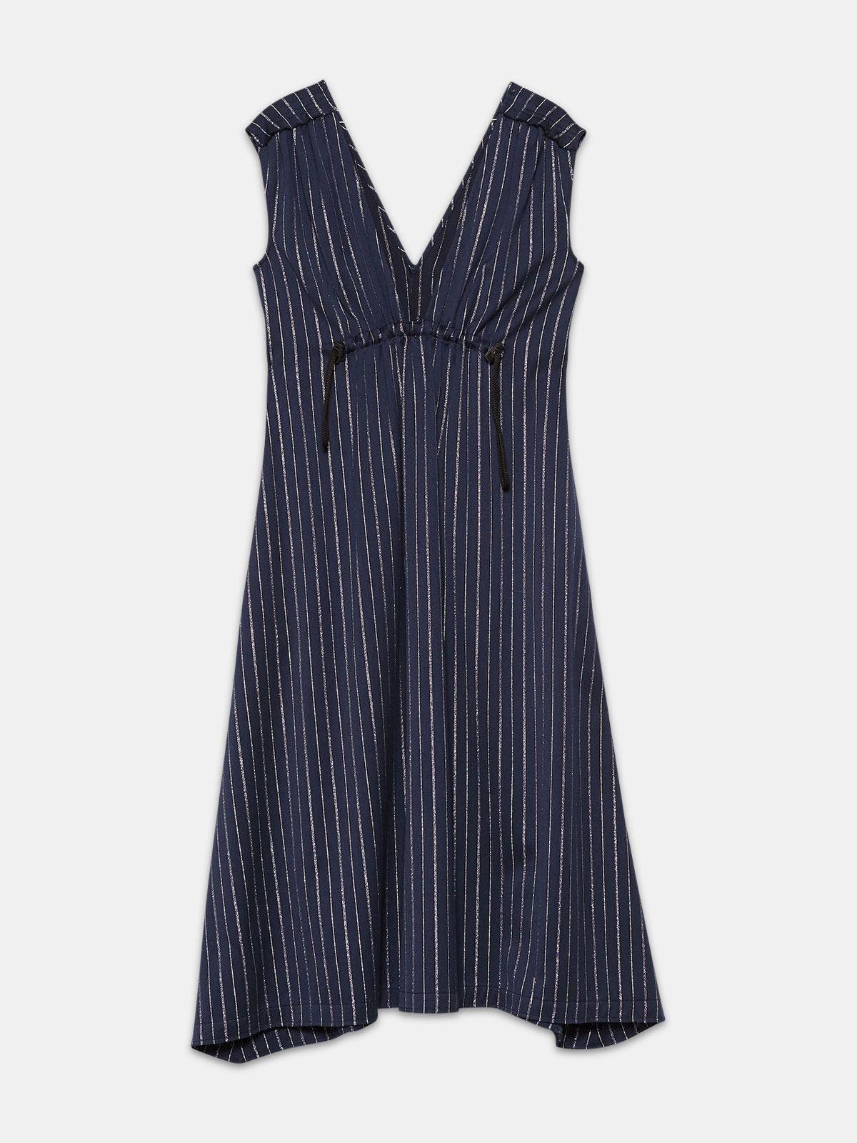 Golden Goose - Sleeveless Sagiso dress in wool blend with pinstripe in