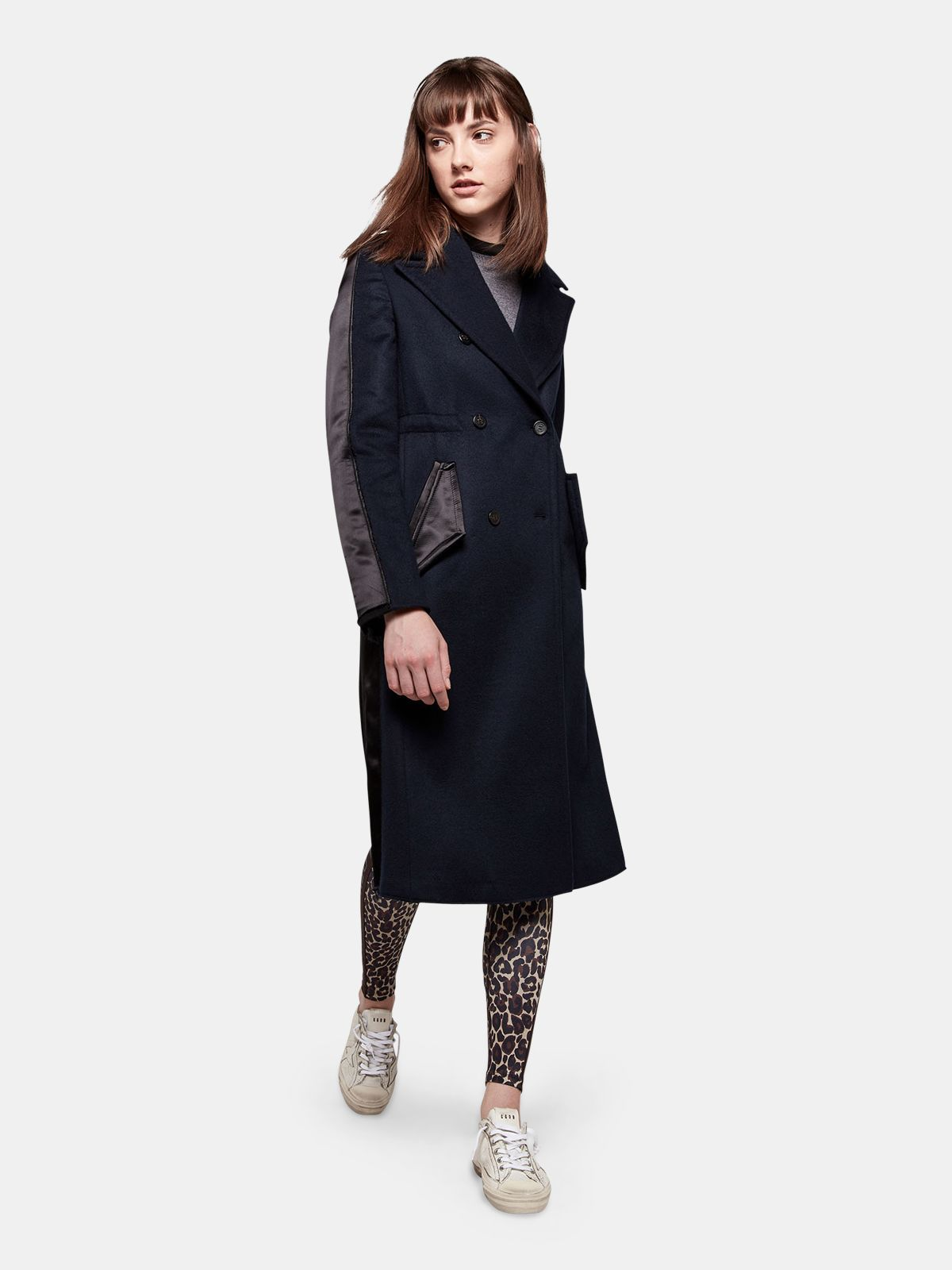 Golden Goose - Fuji slim fit coat with contrasting texture in
