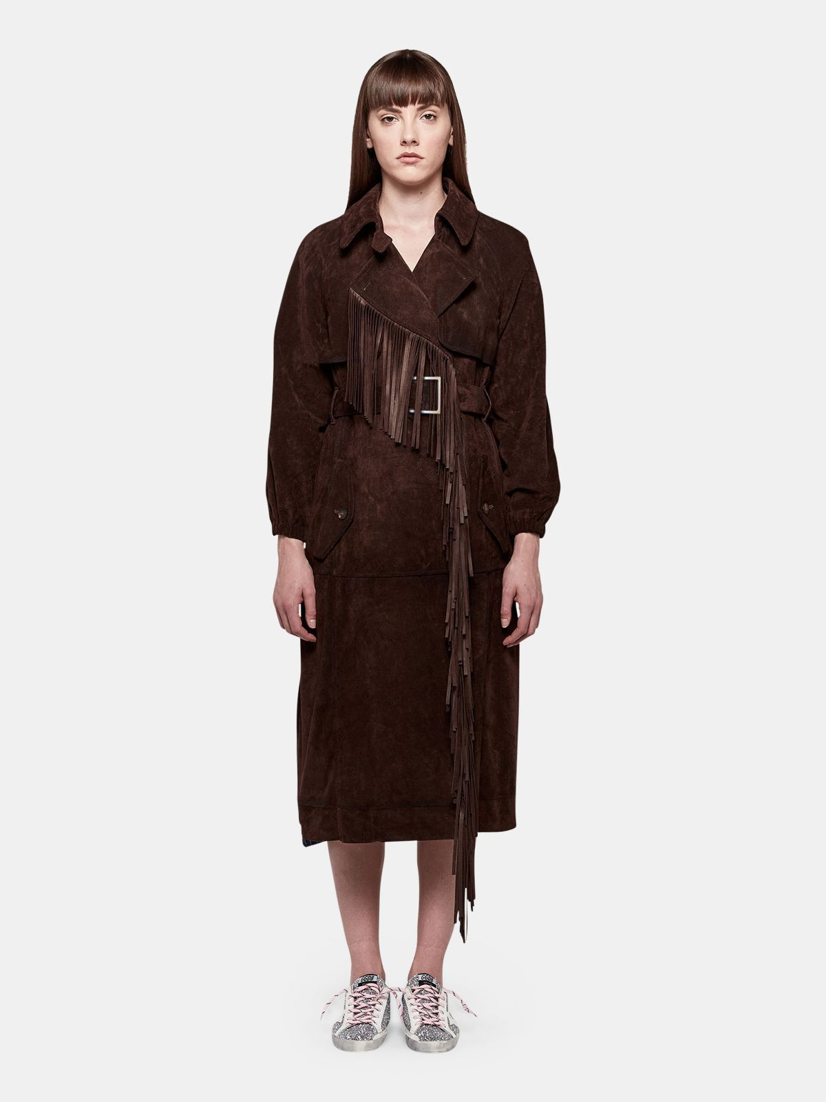 Golden Goose - Sumire trench coat in cowhide with fringe in