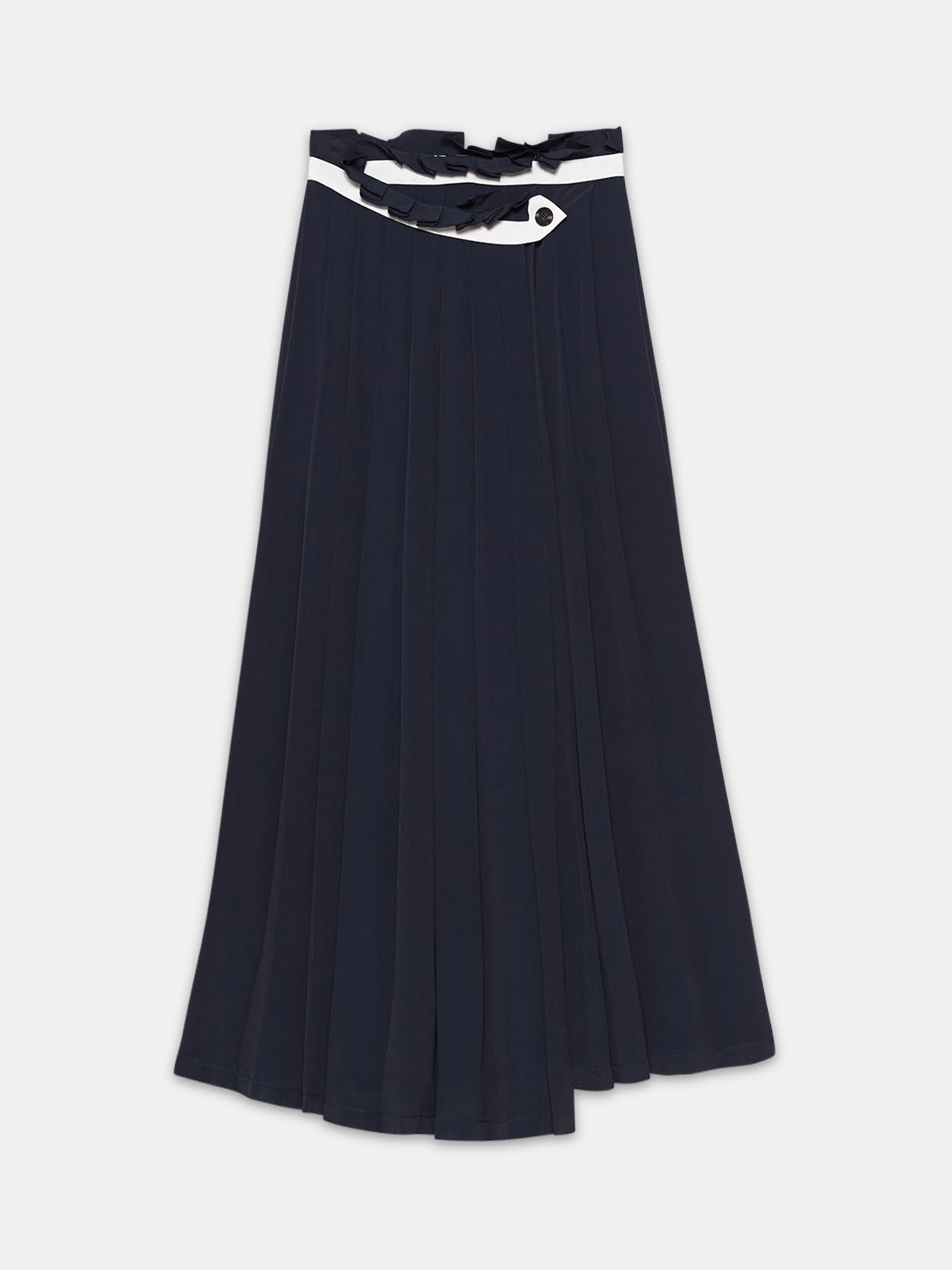 Golden Goose - Hasu colour-block skirt in crepe de chine with sunray pleats in