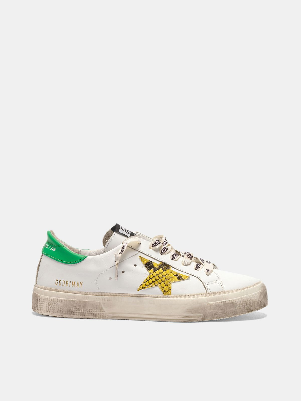 Golden Goose - May sneakers with snake-print star and green heel tab in