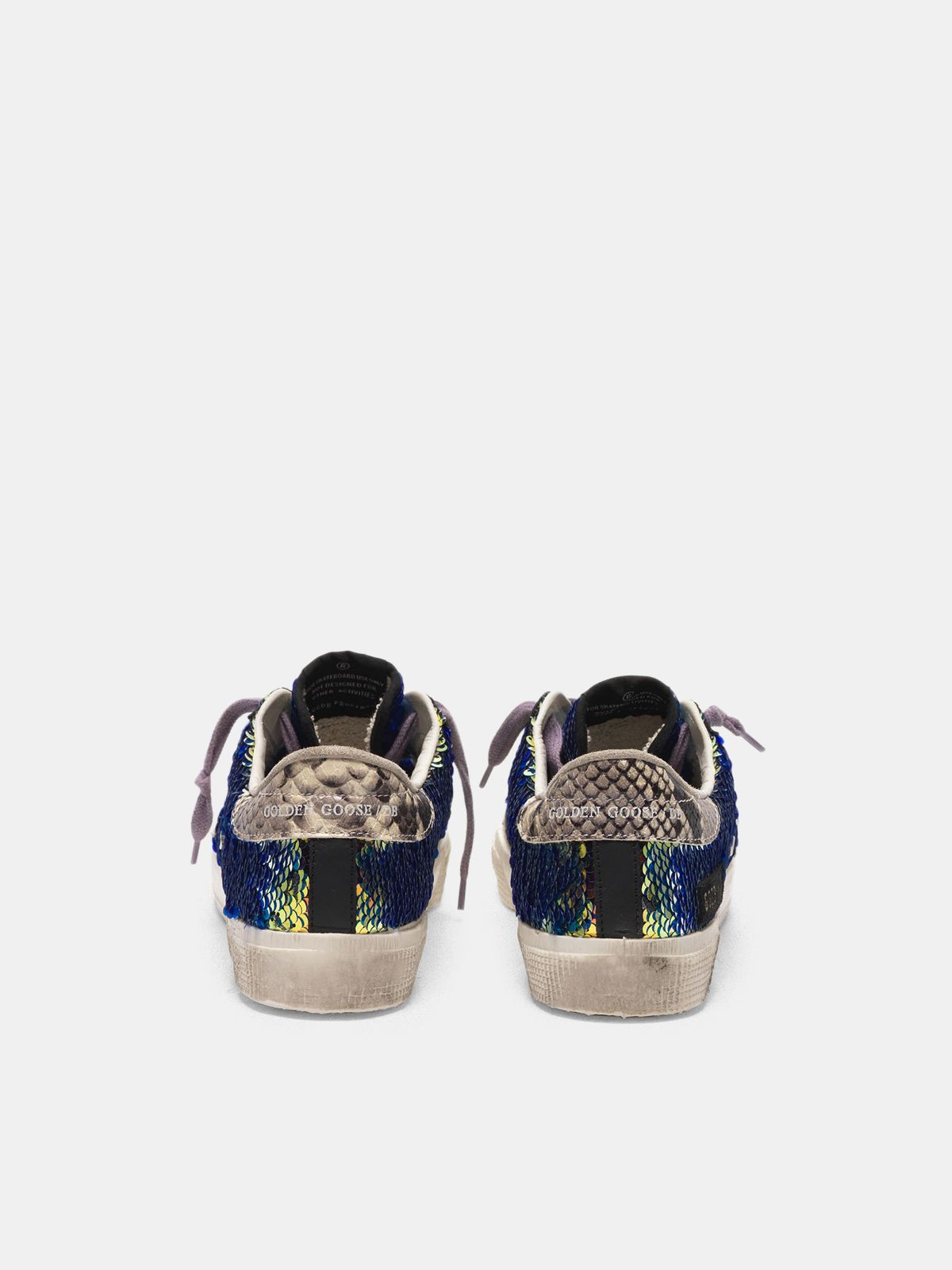 Golden Goose - May sneakers with sequins and snake-print heel tab in