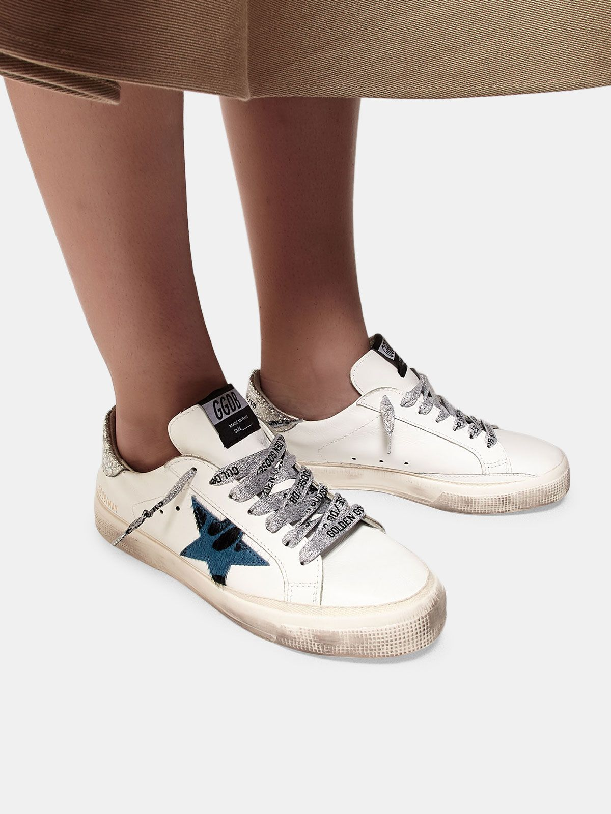 Golden Goose - May sneakers with animal print star and glitter heel tab in