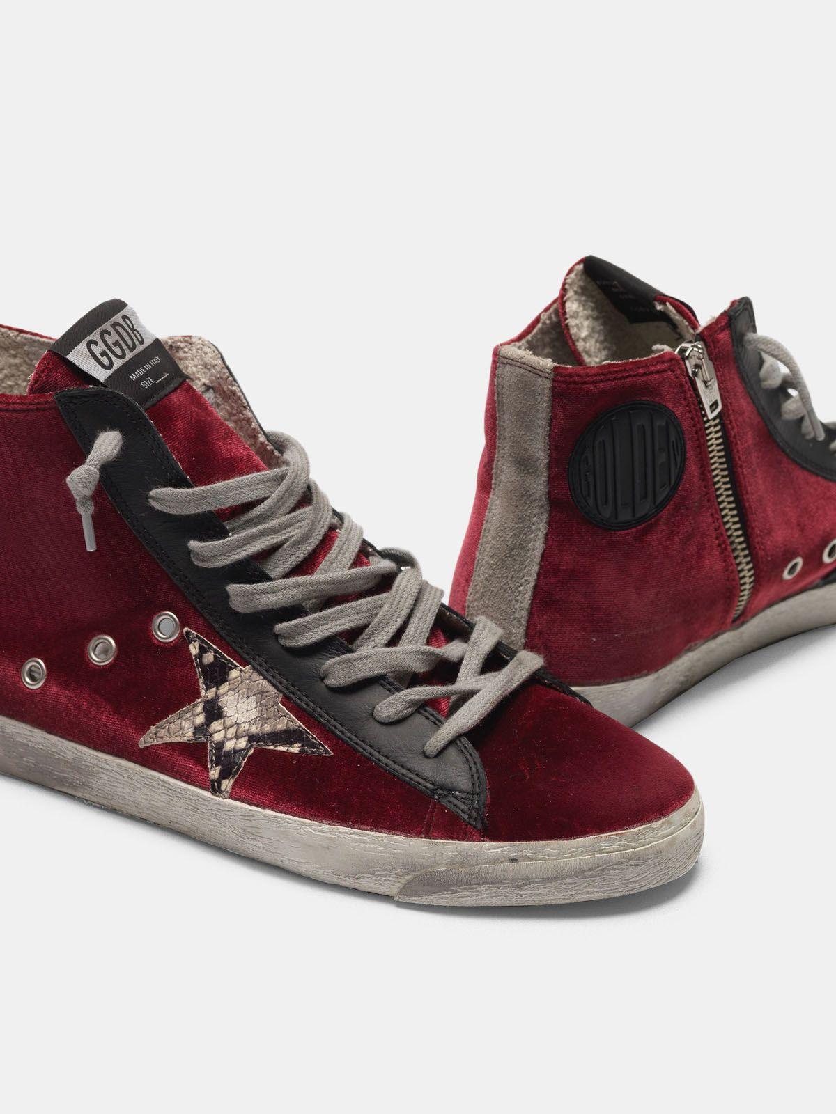Golden Goose - Francy sneakers in velvet with snake-print star in