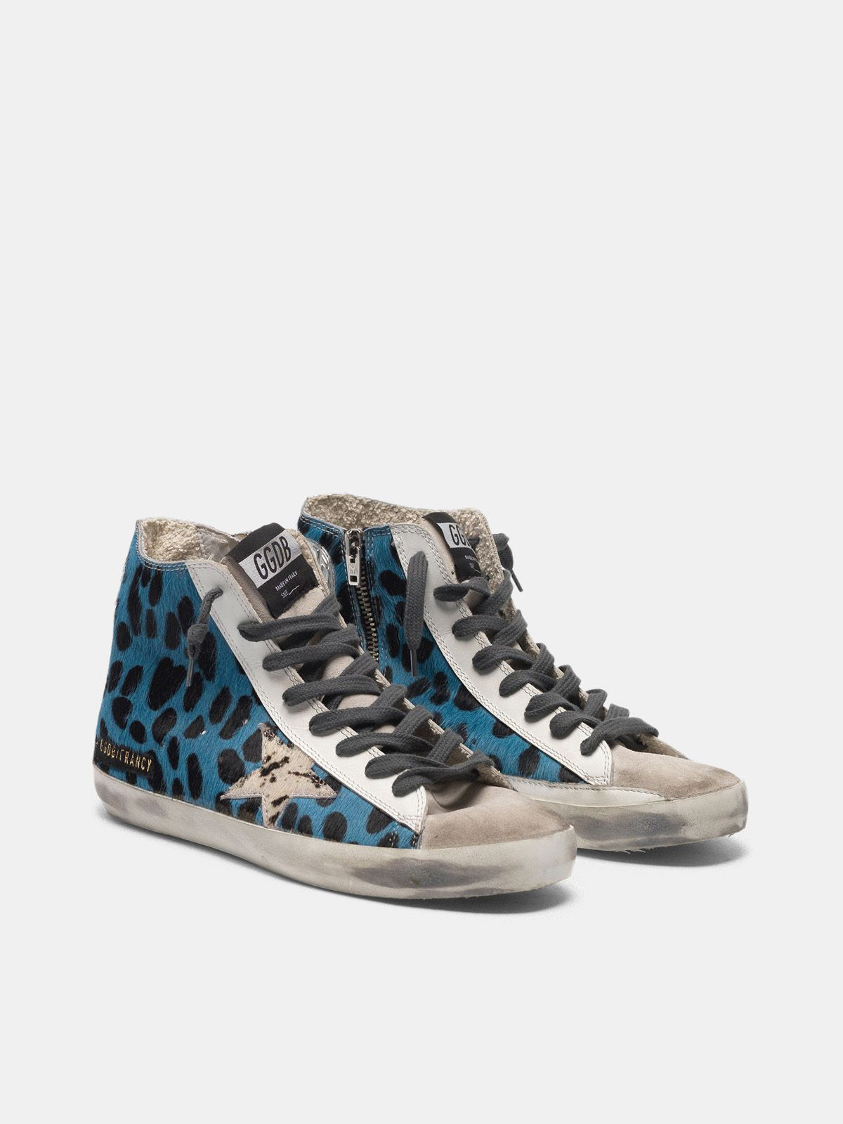 Golden Goose - Francy sneakers in blue leopard print pony skin in
