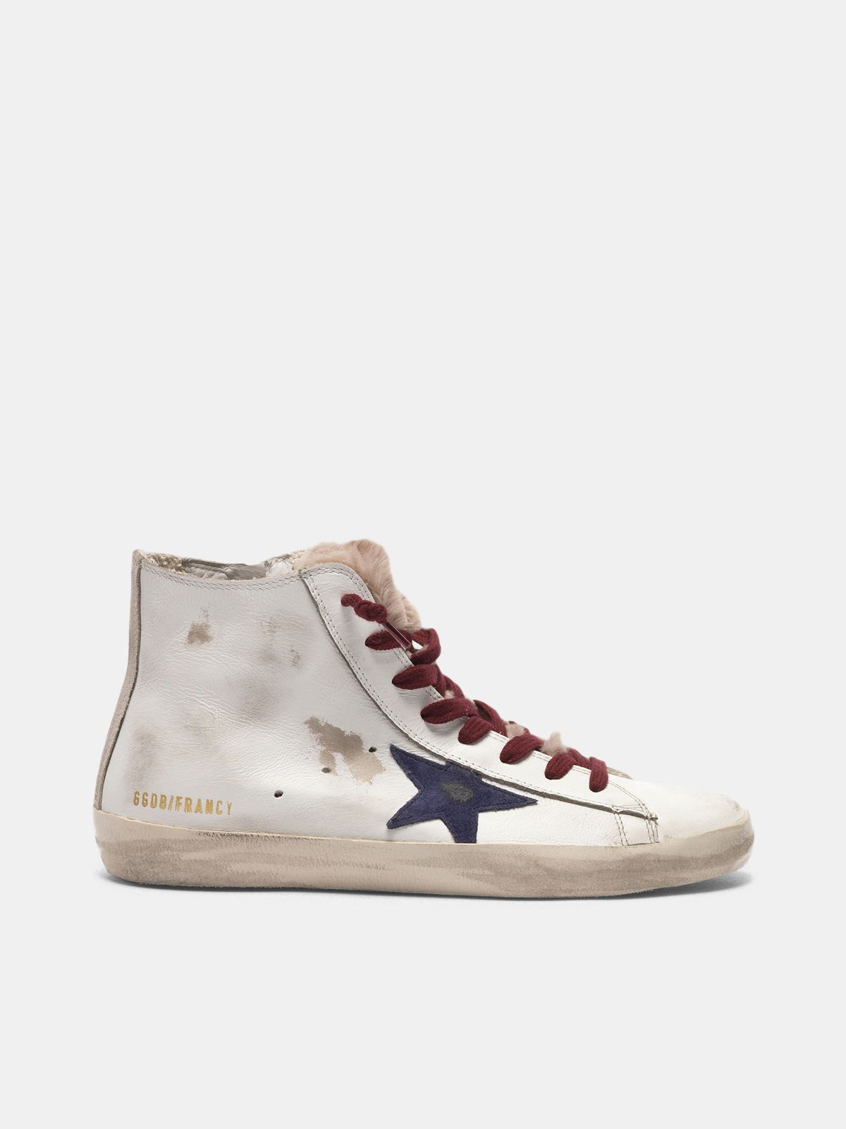 Golden Goose - Sneakers Francy in pelle con linguetta in pelliccia in