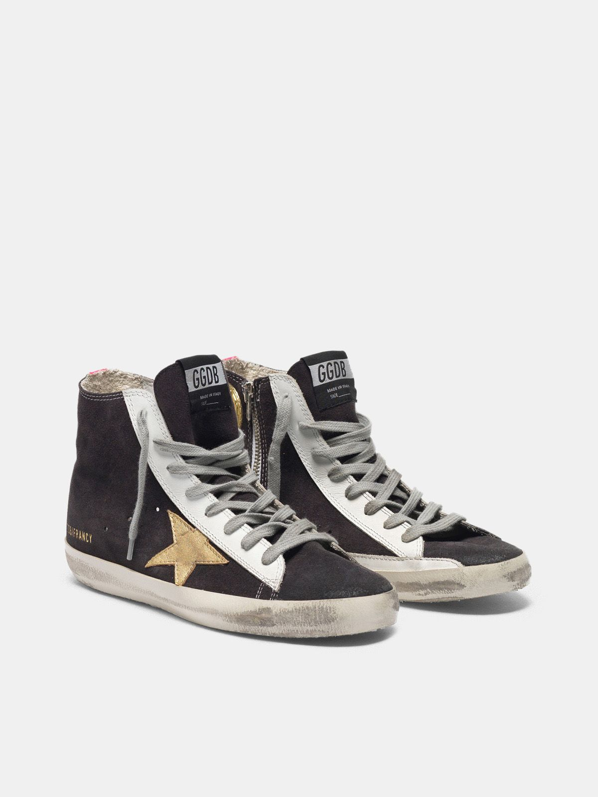 Golden Goose - Francy sneakers in suede with gold star and fuchsia insert on the back in