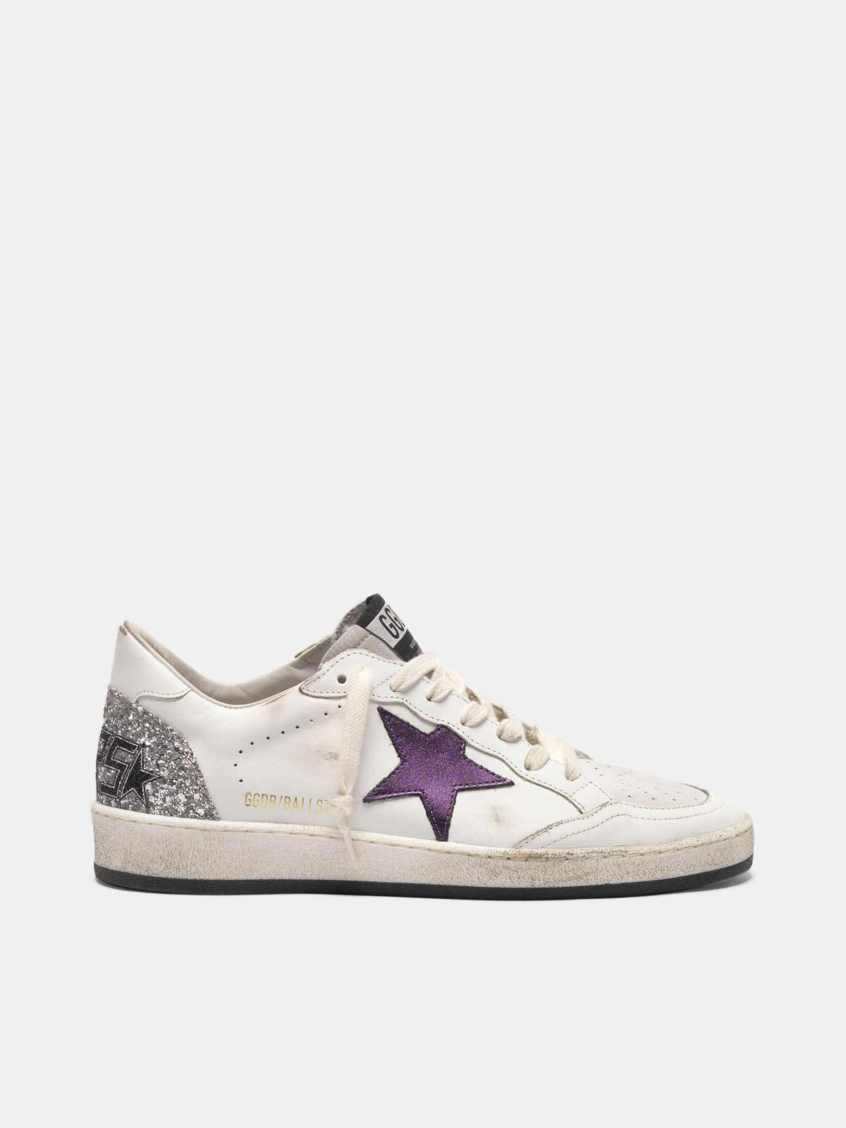 Golden Goose - Ball Star sneakers with metallic purple star and glitter back in