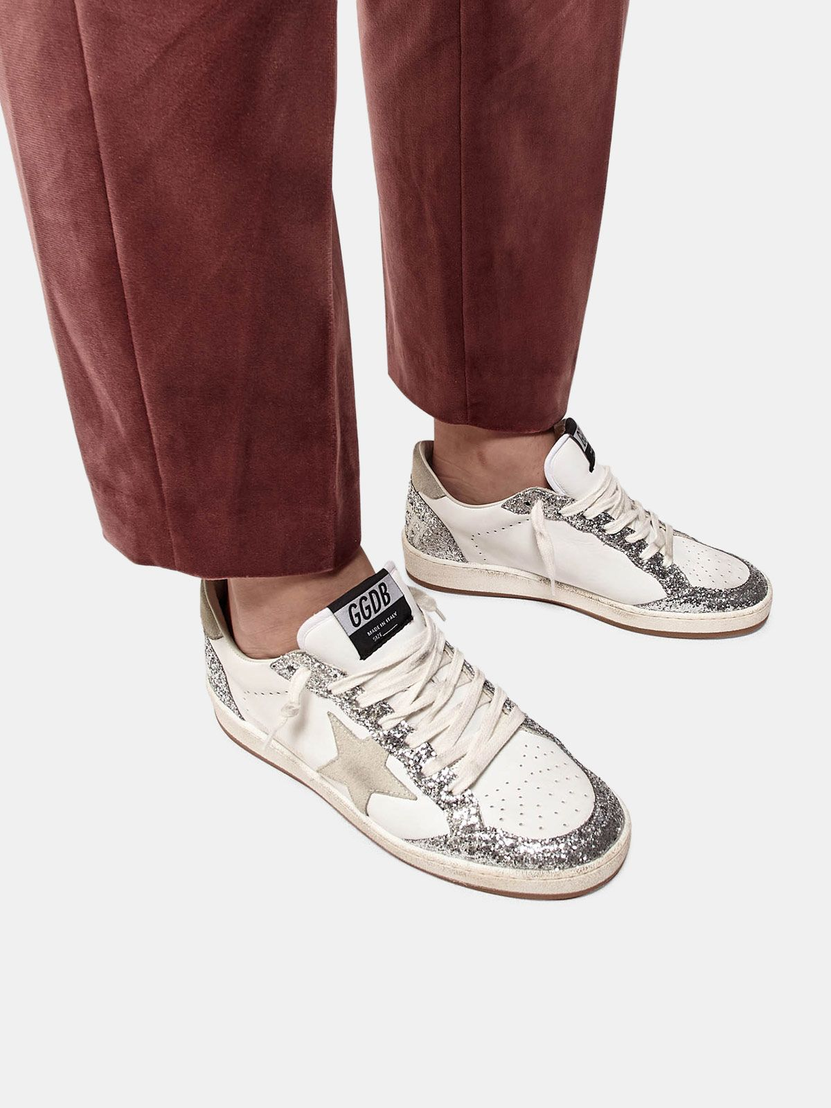 Golden Goose - Ball Star sneakers in leather with glittery inserts in