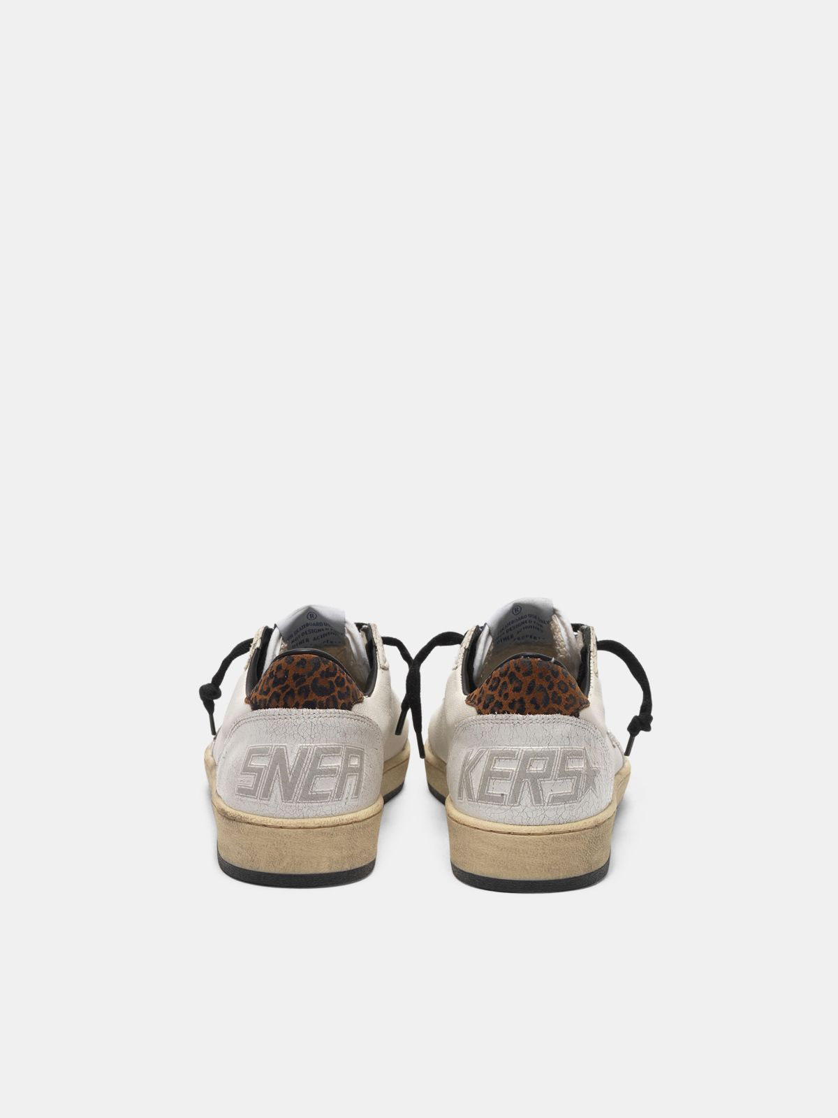 Golden Goose - Sneakers Ball Star con stella in glitter e talloncino leopardato in