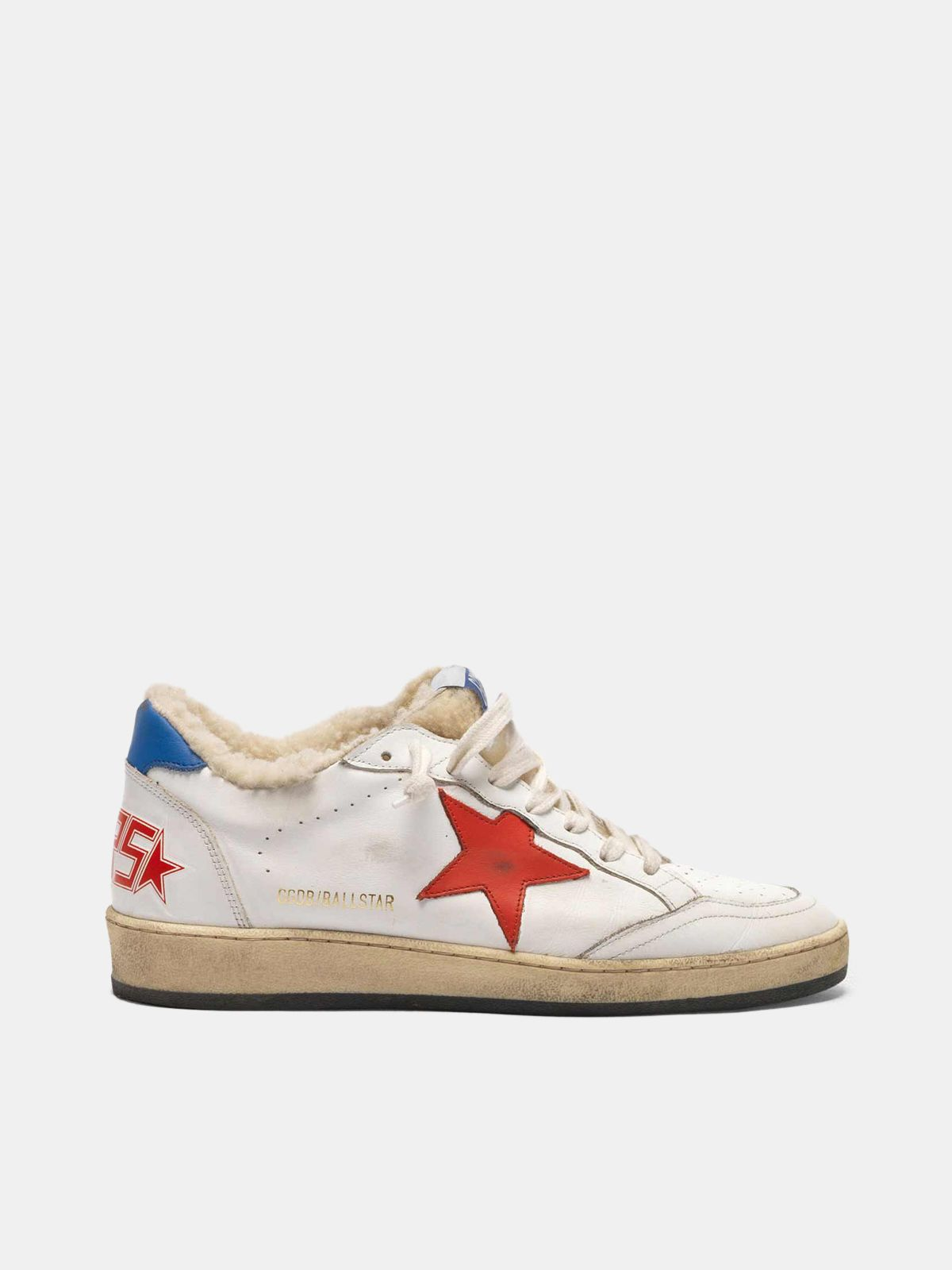 Golden Goose - Sneakers Ball Star in pelle con inserto in shearling  in