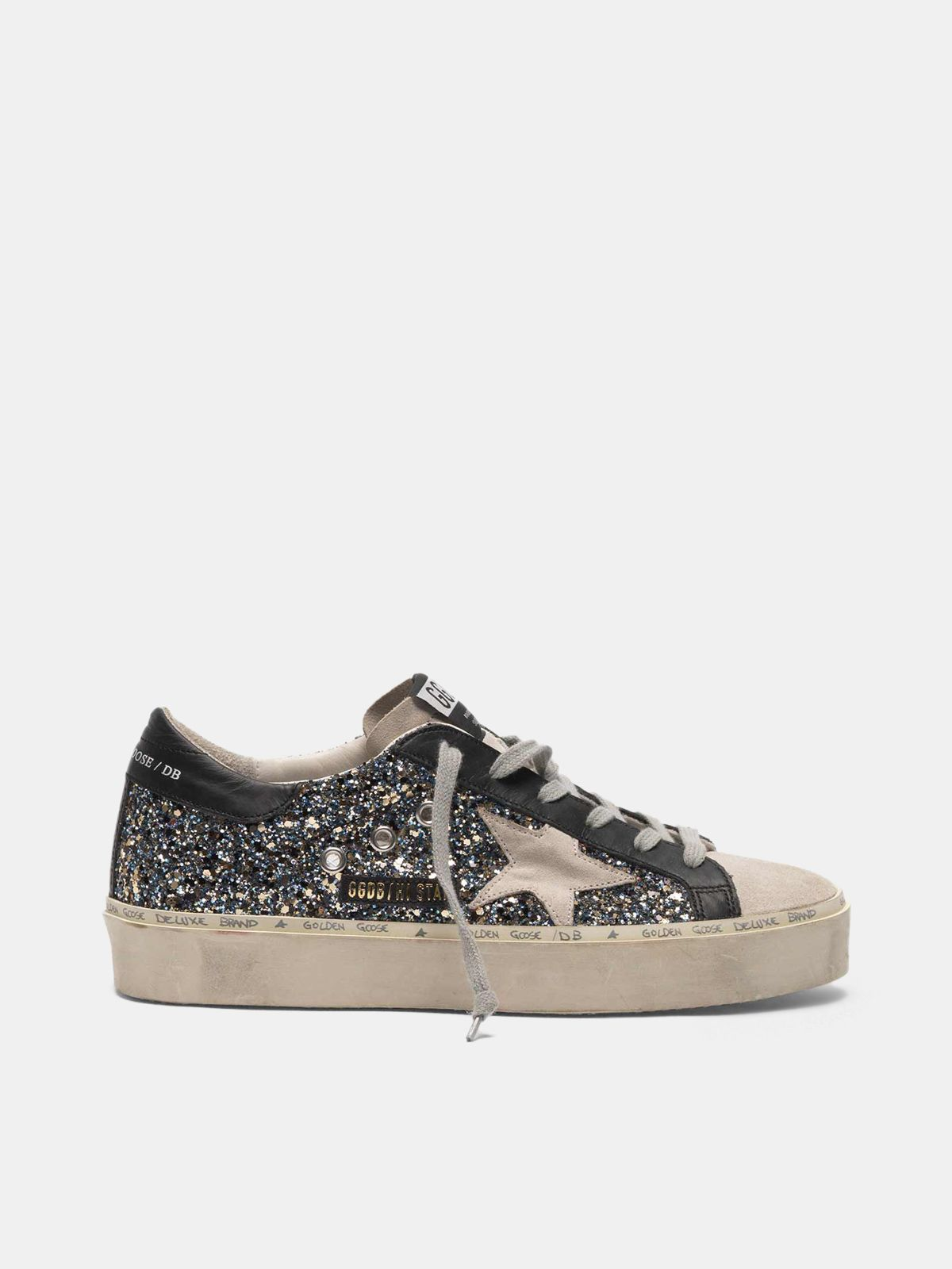 Golden Goose - Hi Star sneakers in glitter and suede leather in