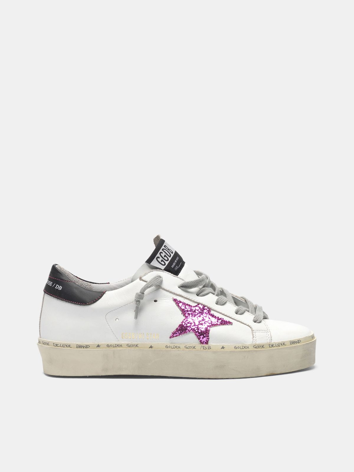Golden Goose - Hi Star sneakers with pink glitter star and black heel tab in