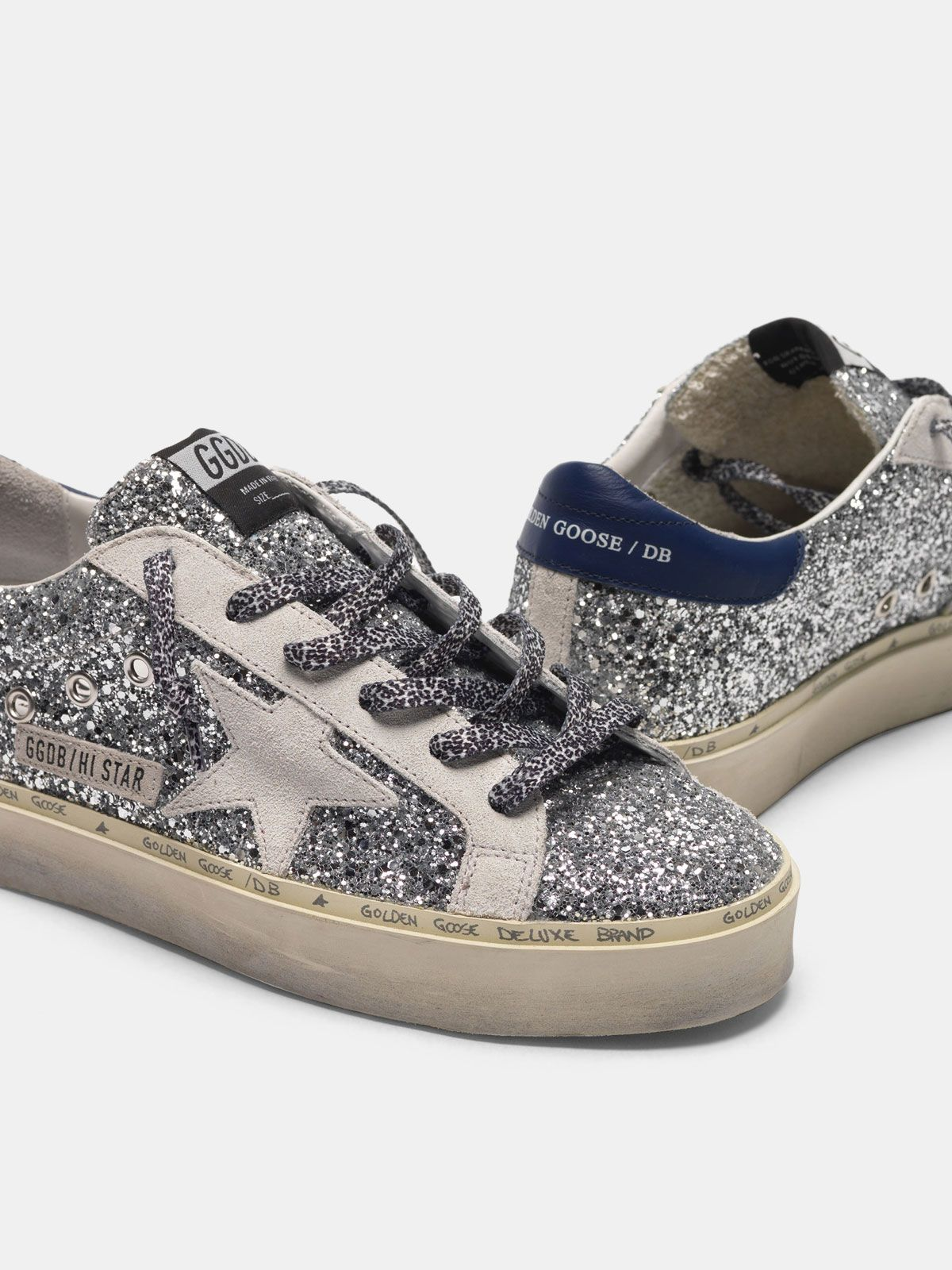 Golden Goose - Hi Star sneakers with glitter, white star and leopard print laces in