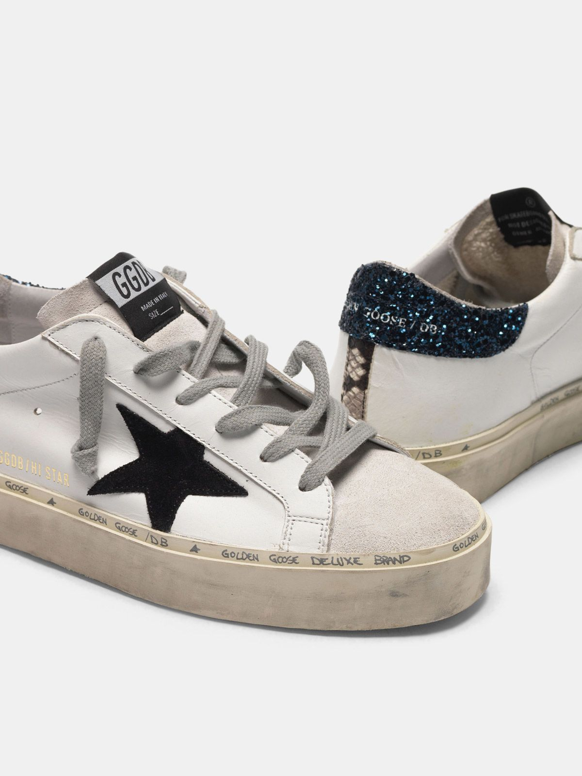 Golden Goose - Hi Star sneakers in smooth leather and suede with glitter heel tab in