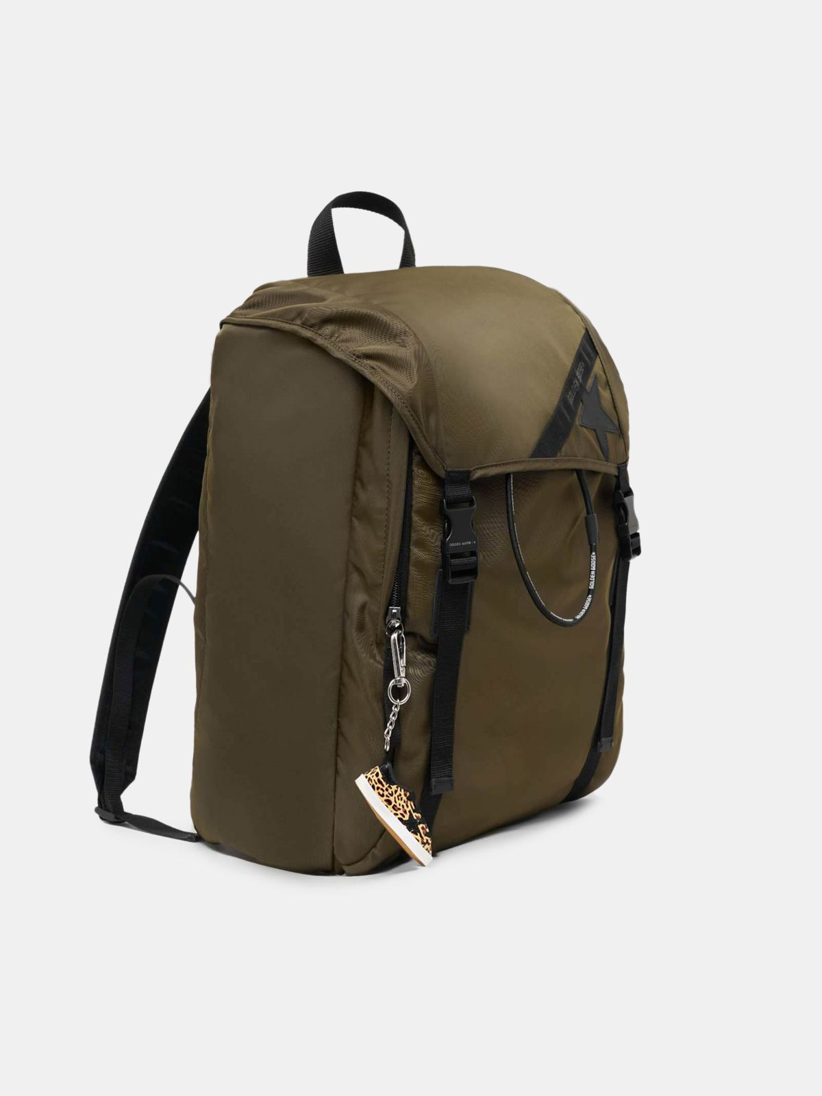 Golden Goose - Olive-green nylon Journey backpack in