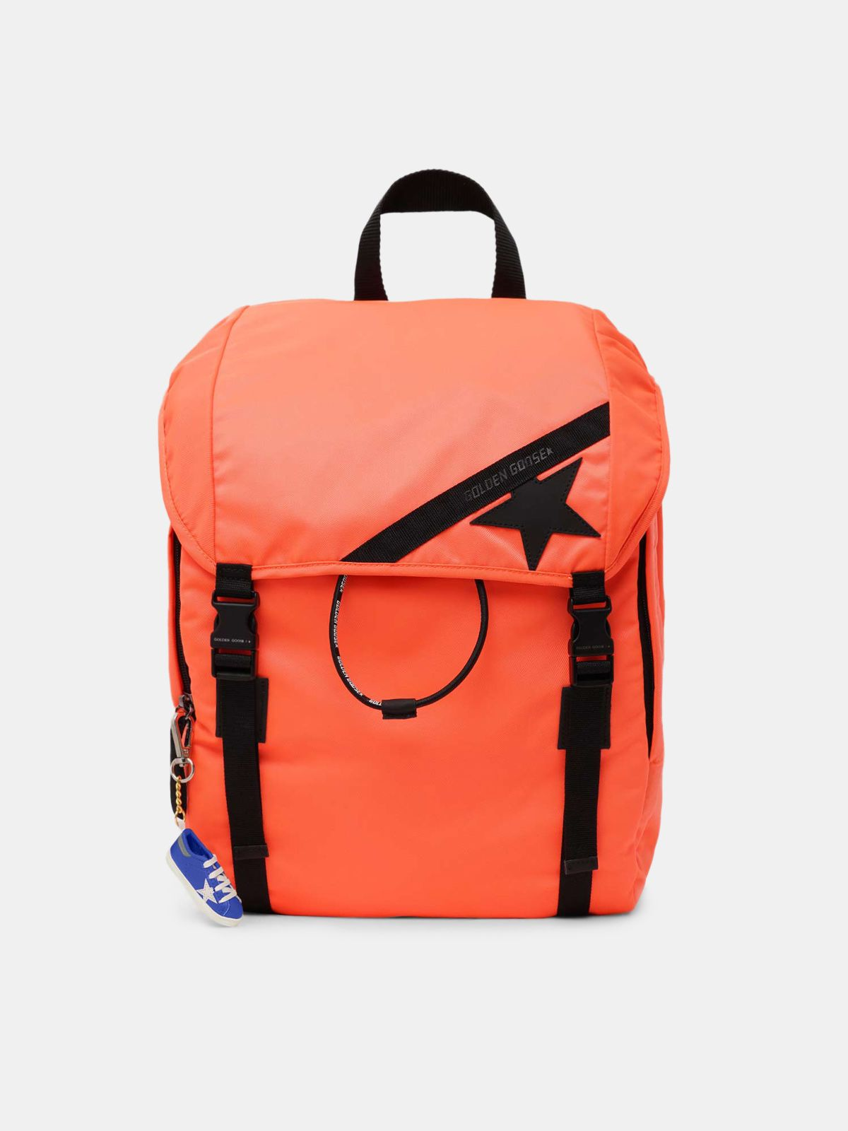 Fluorescent orange nylon Journey backpack