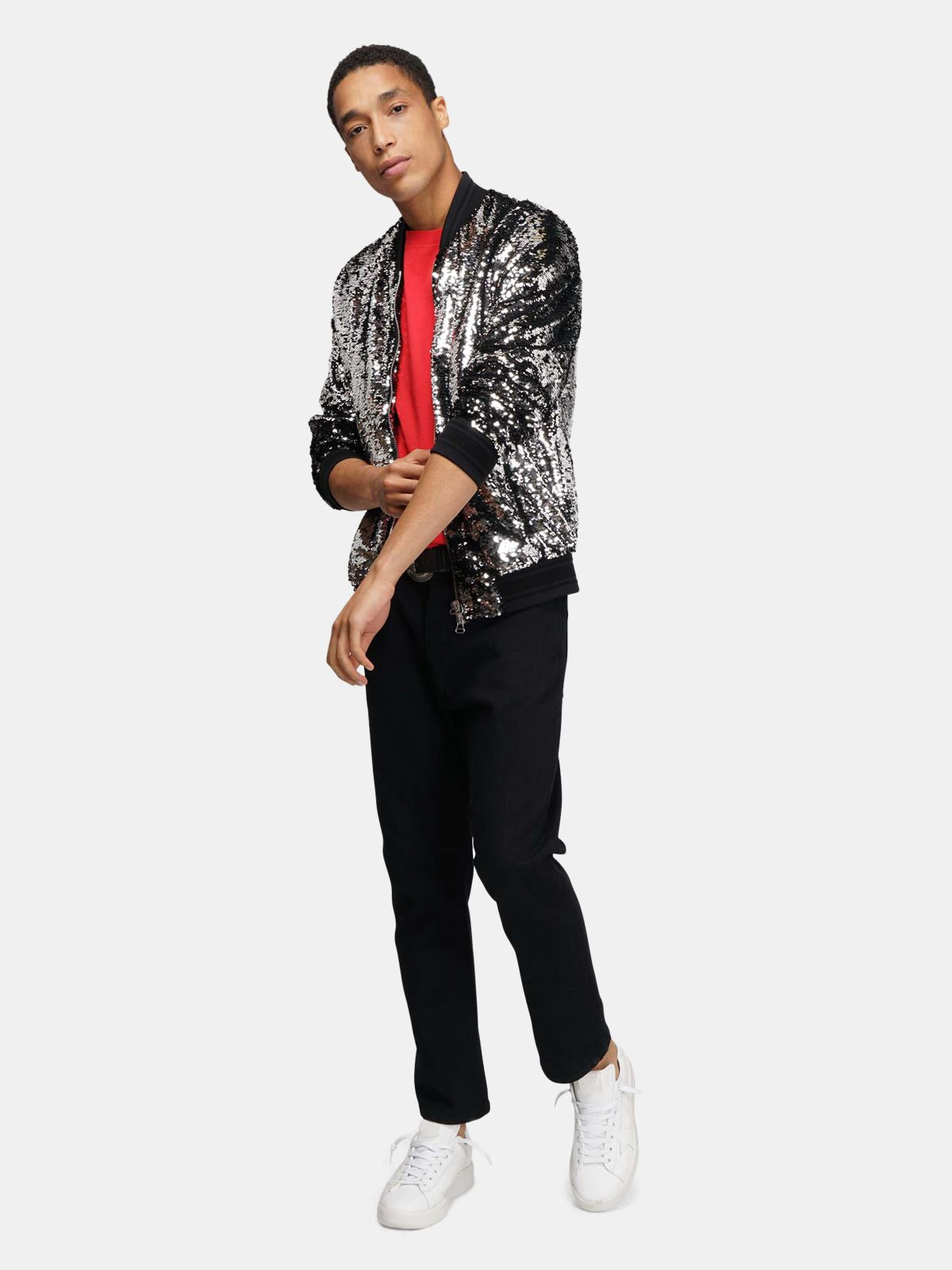 Golden Goose - Bomber Joshua con paillettes argentate in
