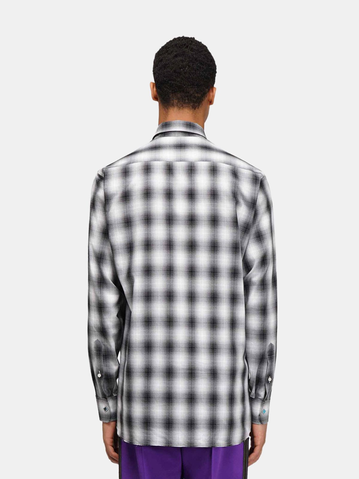 Golden Goose - Nathan checked shirt with studs and rhinestones on the collar in