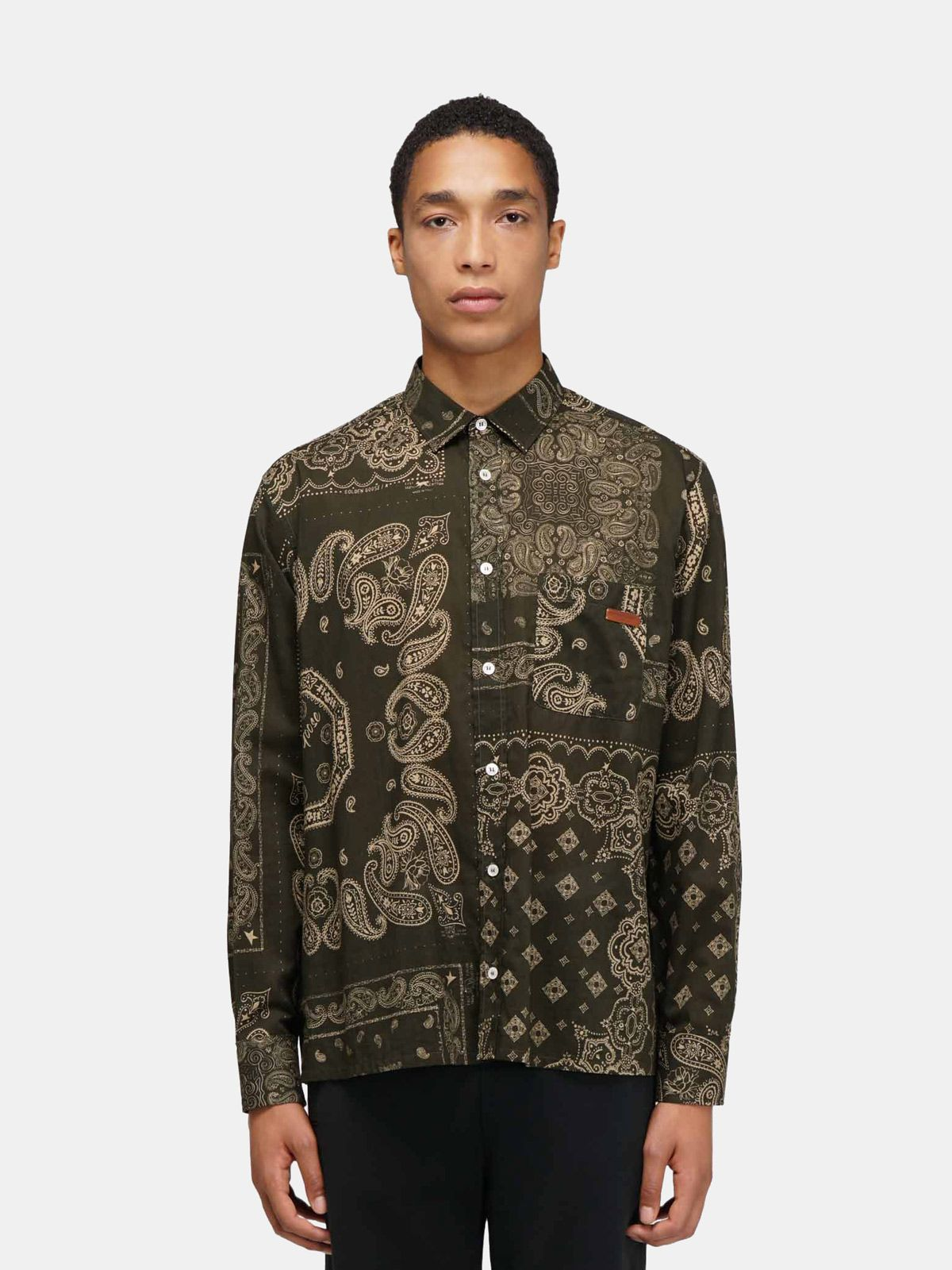 Golden Goose - Green Houston shirt with bandana print in