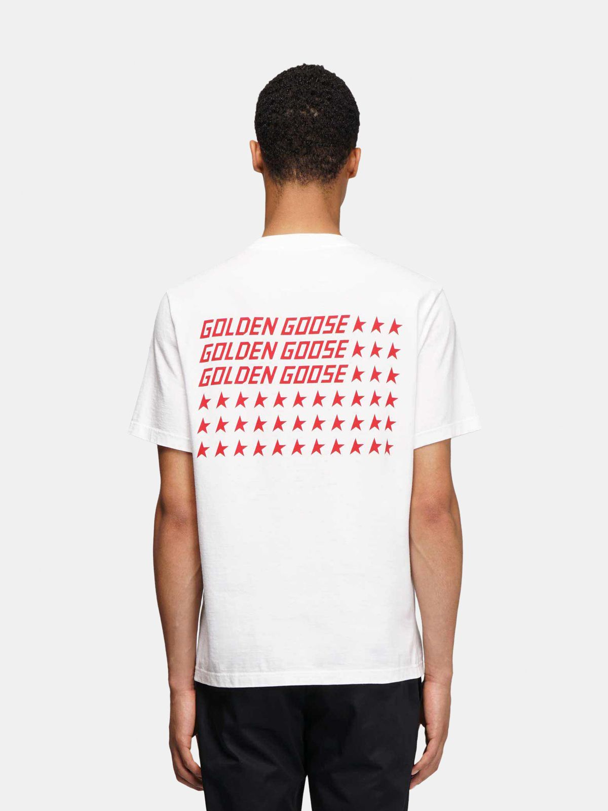 Golden Goose - T-shirt Golden bianca con stampa flag rossa sul retro in