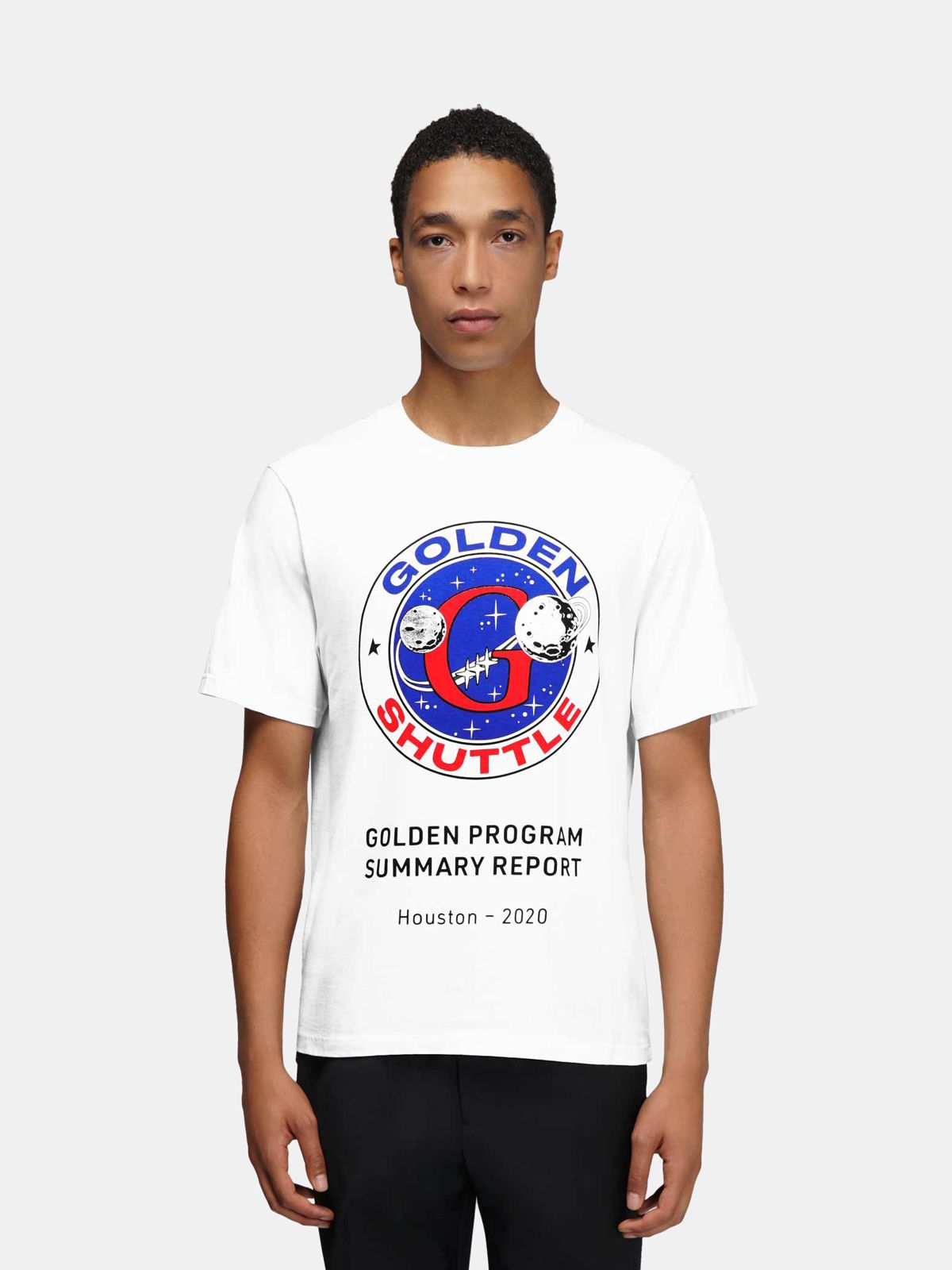 Golden Goose - T-shirt Golden bianca stampa Golden Shuttle in