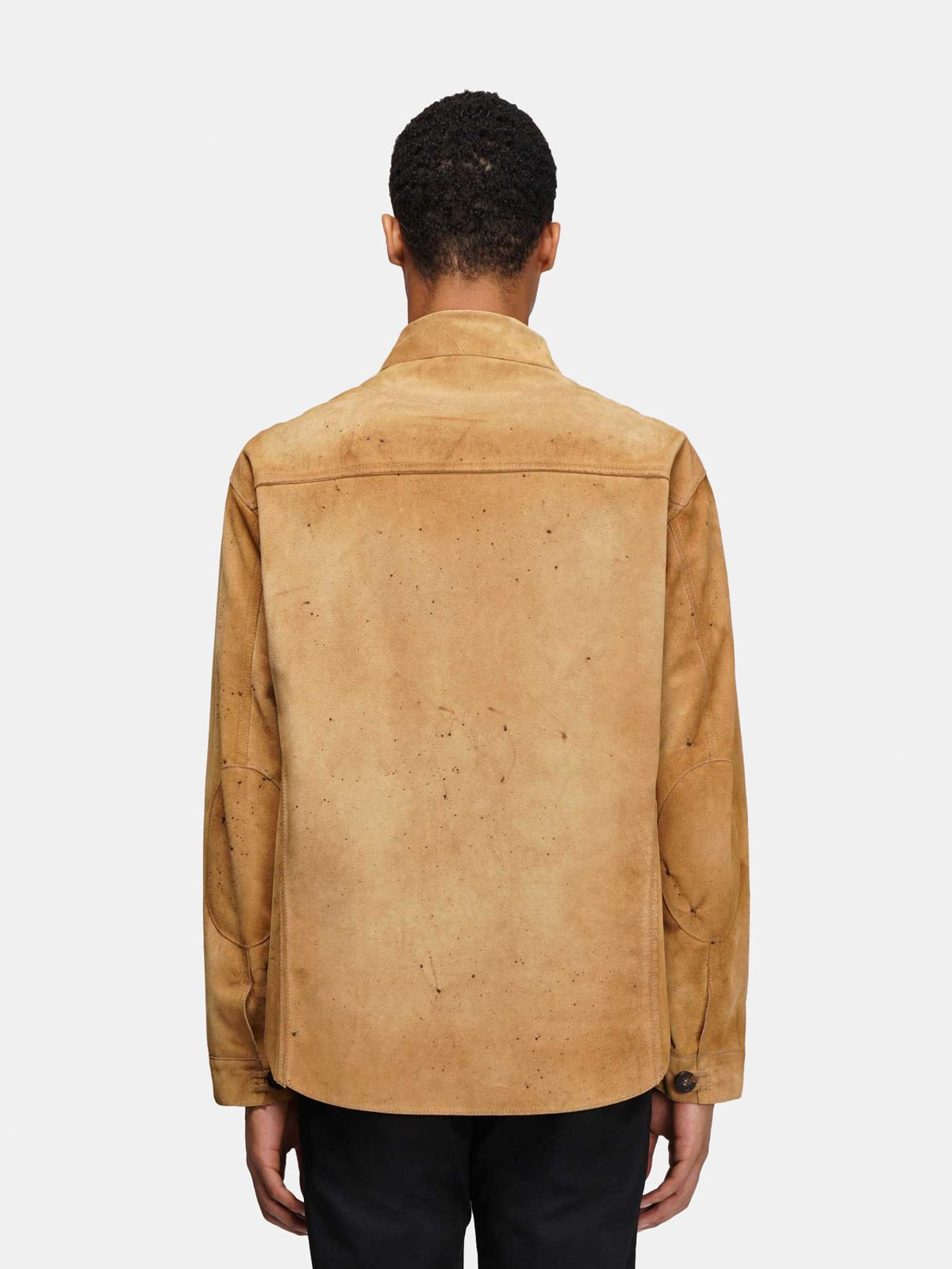 Golden Goose - Sawyer shirt in bone brown leather in