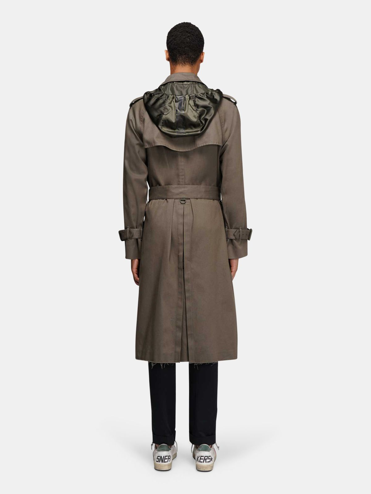 Golden Goose - Military green Samuel trench coat with nylon inserts in