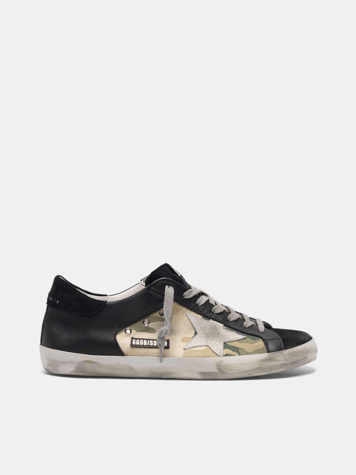 Zapatillas deportivas Super-Star negras de piel y lona motivo camuflaje