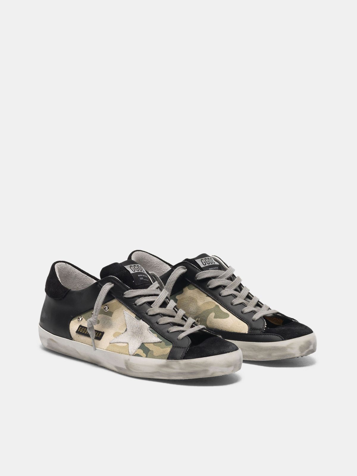 Golden Goose - Sneakers Super-Star nere in pelle e canvas camouflage in