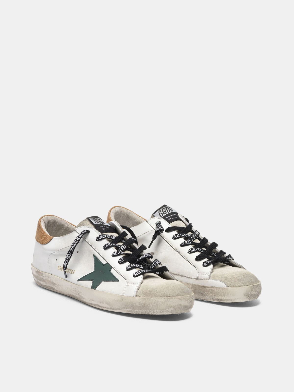 Golden Goose - Sneakers Super-Star bianche con talloncino stampa lucertolina in