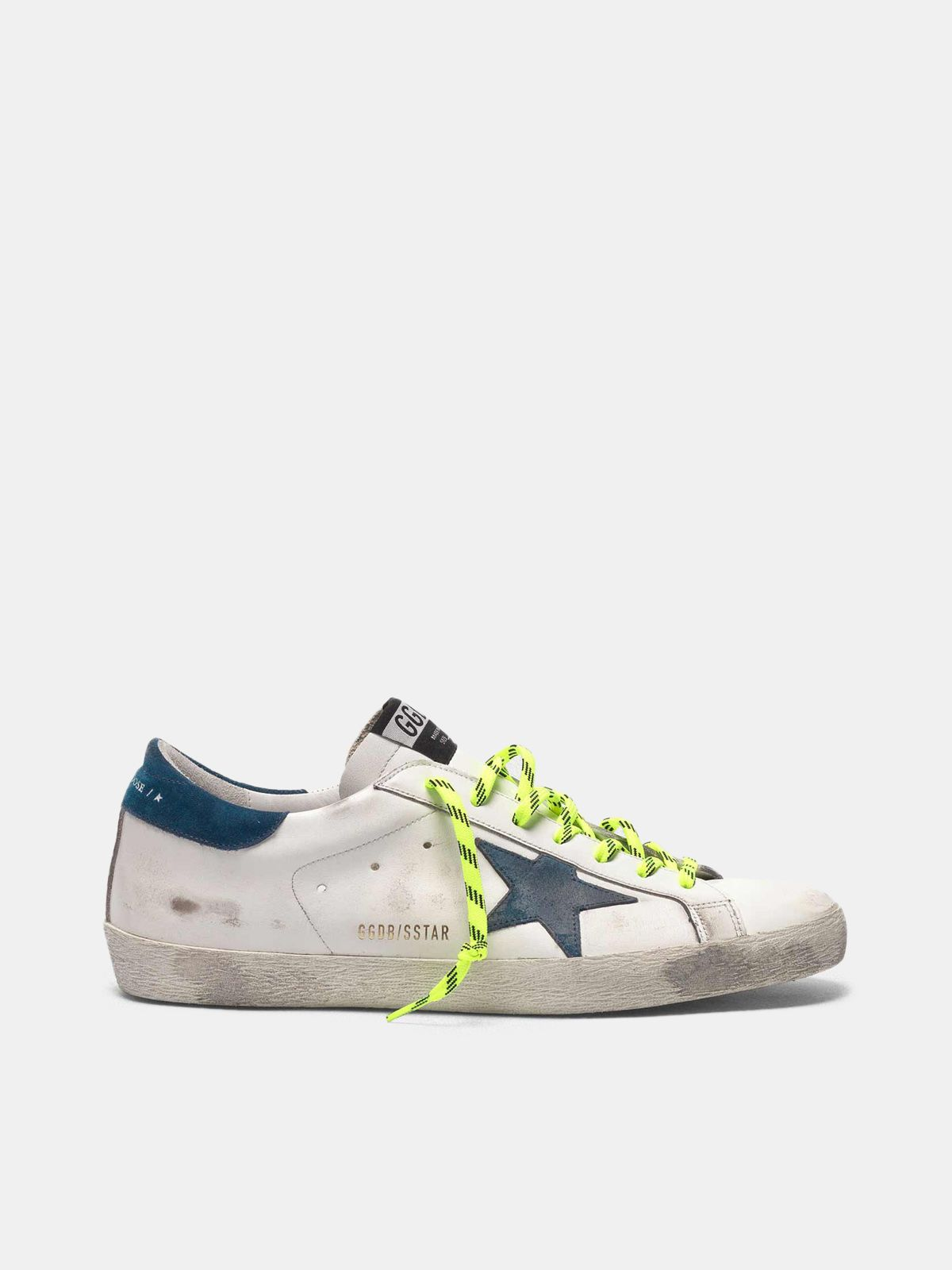 Golden Goose - White Super-Star sneakers with fluorescent trekking laces in