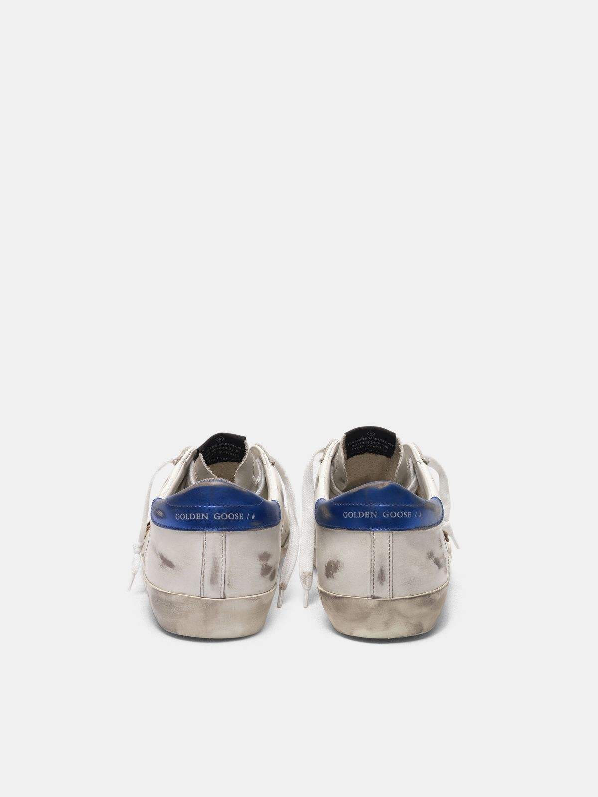 Golden Goose - Super-Star sneakers with leopard-print star and blue heel tab   in