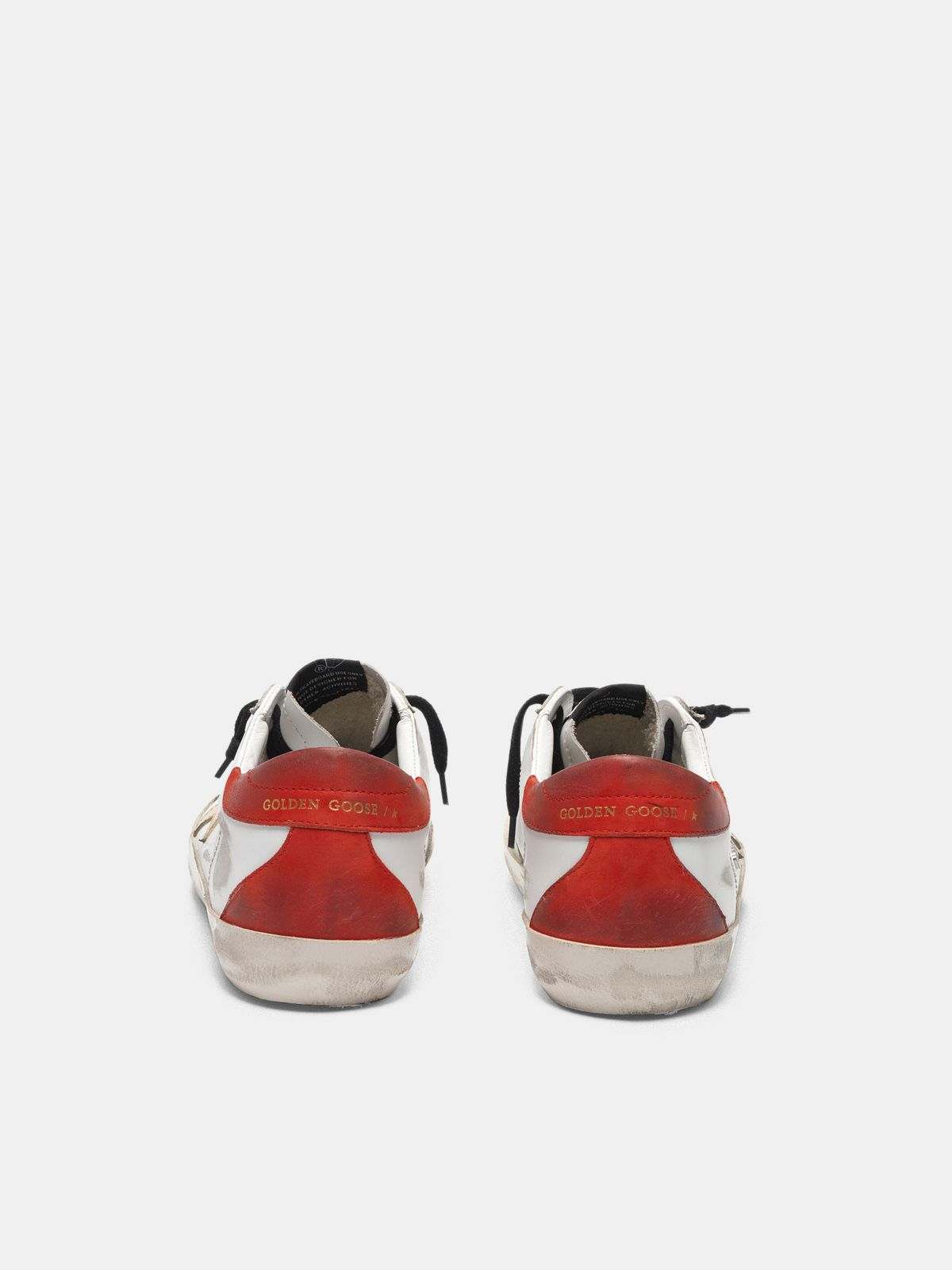 Golden Goose - White Super-Star sneakers with red rear and black laces in