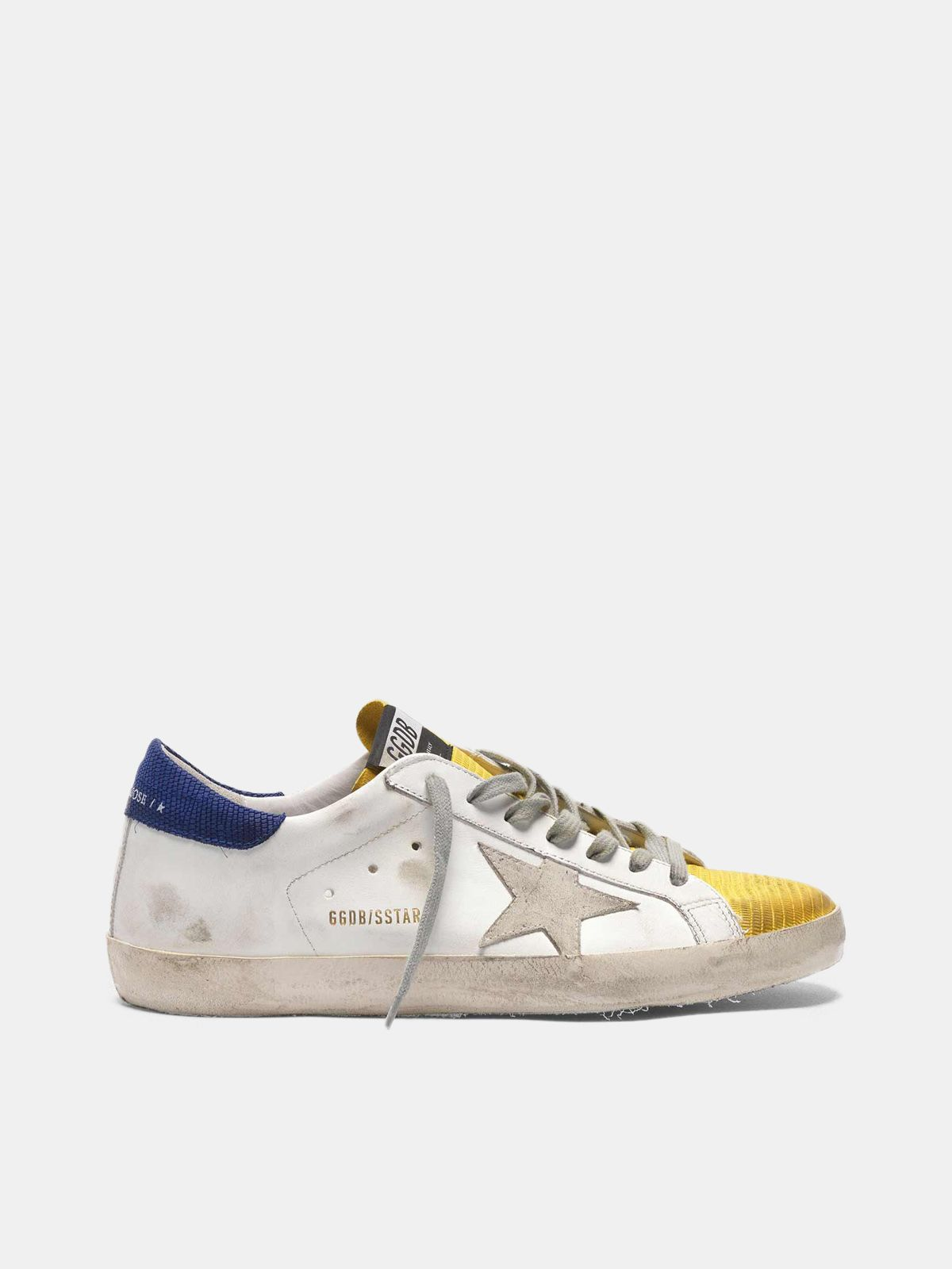 Two-tone Super-Star sneakers with yellow lizard-print insert