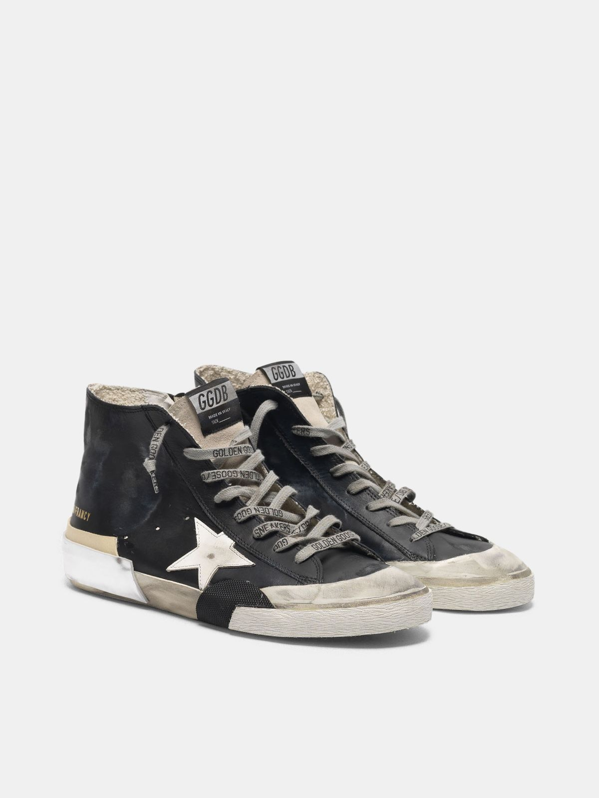 Golden Goose - Black patchwork Francy sneakers with multi-foxing in