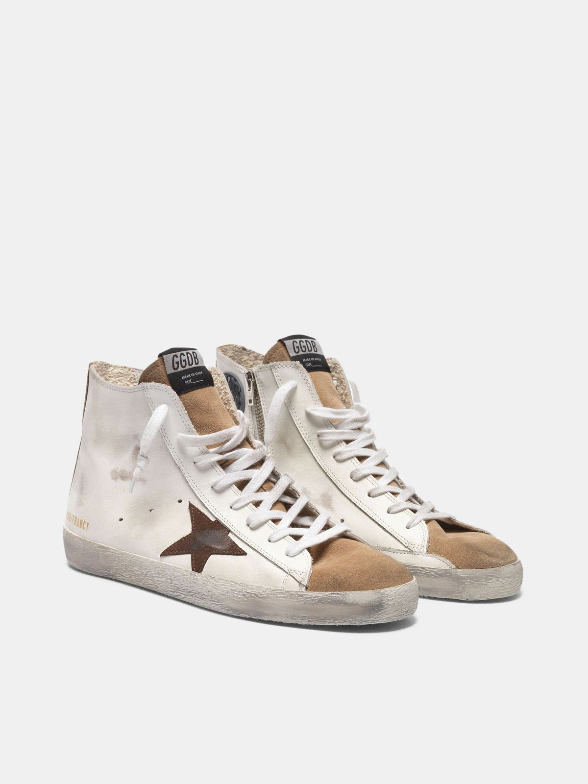 Golden Goose - Francy sneakers in nude suede and white leather with contrast star in