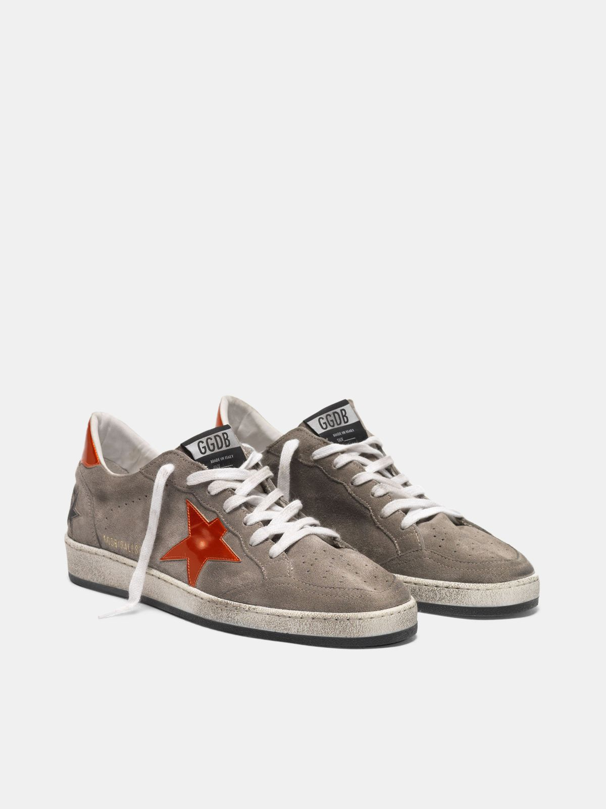 Golden Goose - Ball Star sneakers in grey suede with orange star in