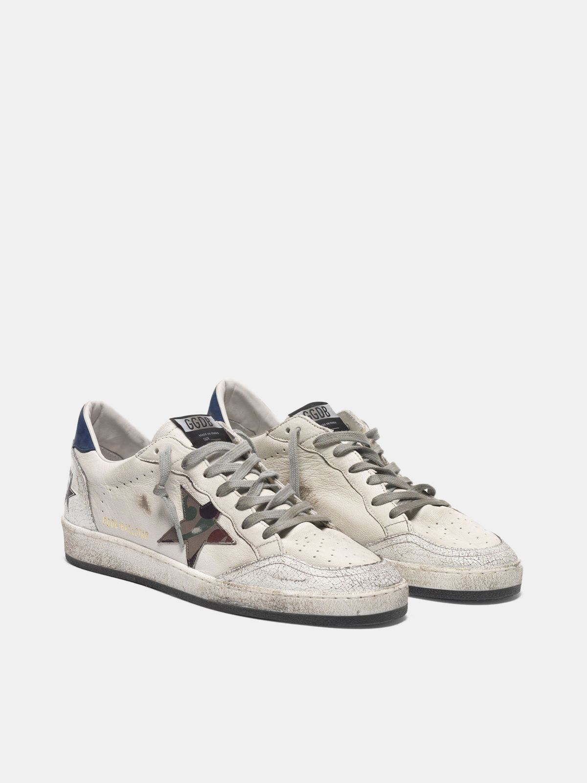 Golden Goose - Ball Star sneakers with camouflage star and navy heel tab in