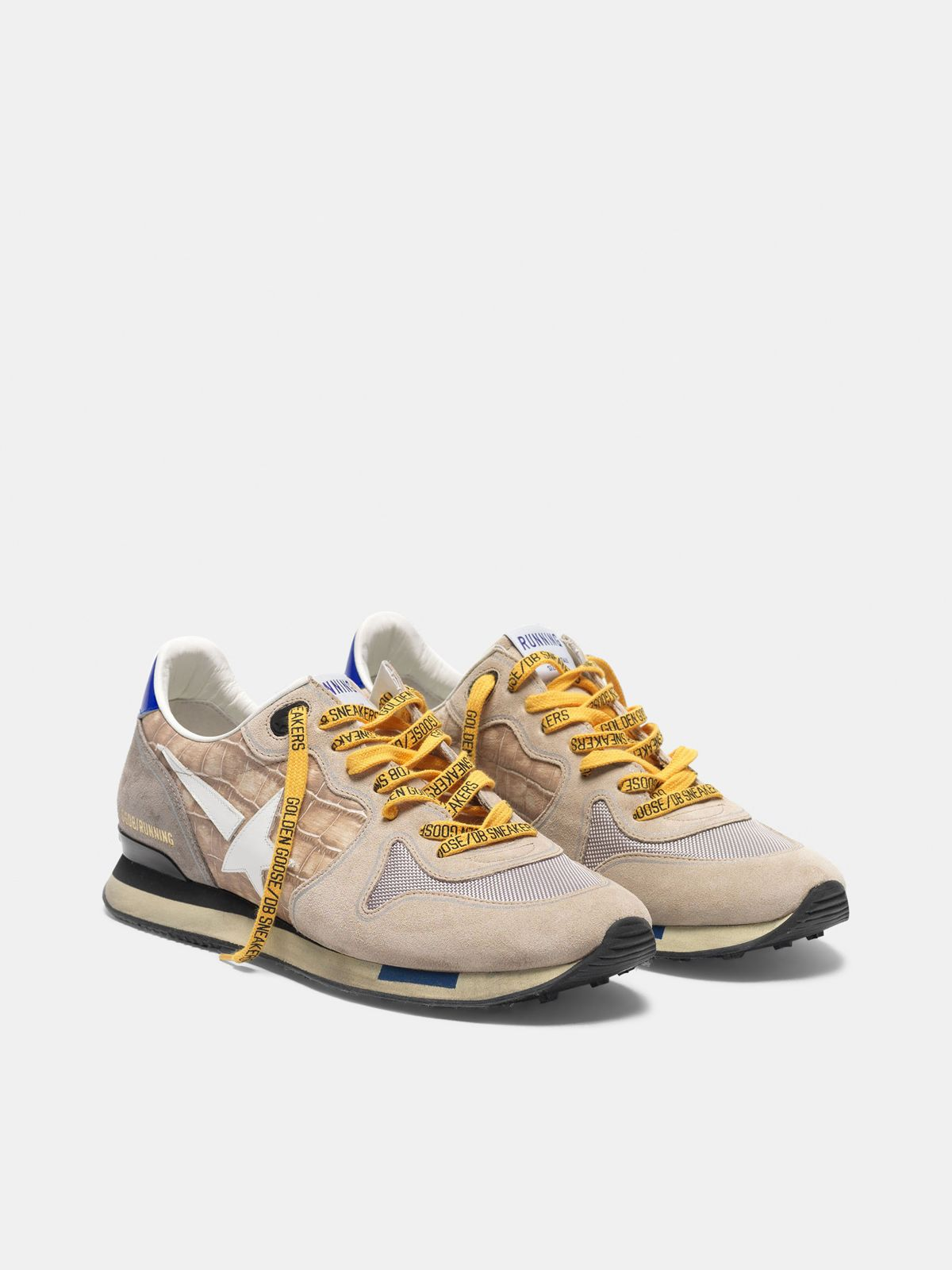 Golden Goose - Sneakers Running stampa cocco e suede nude in