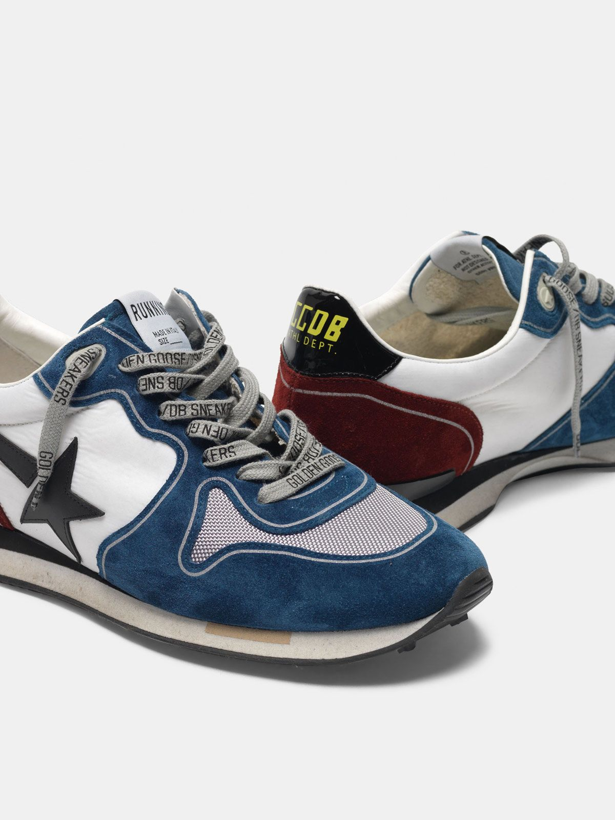 Golden Goose - Running sneakers in petrol and burgundy with black star in