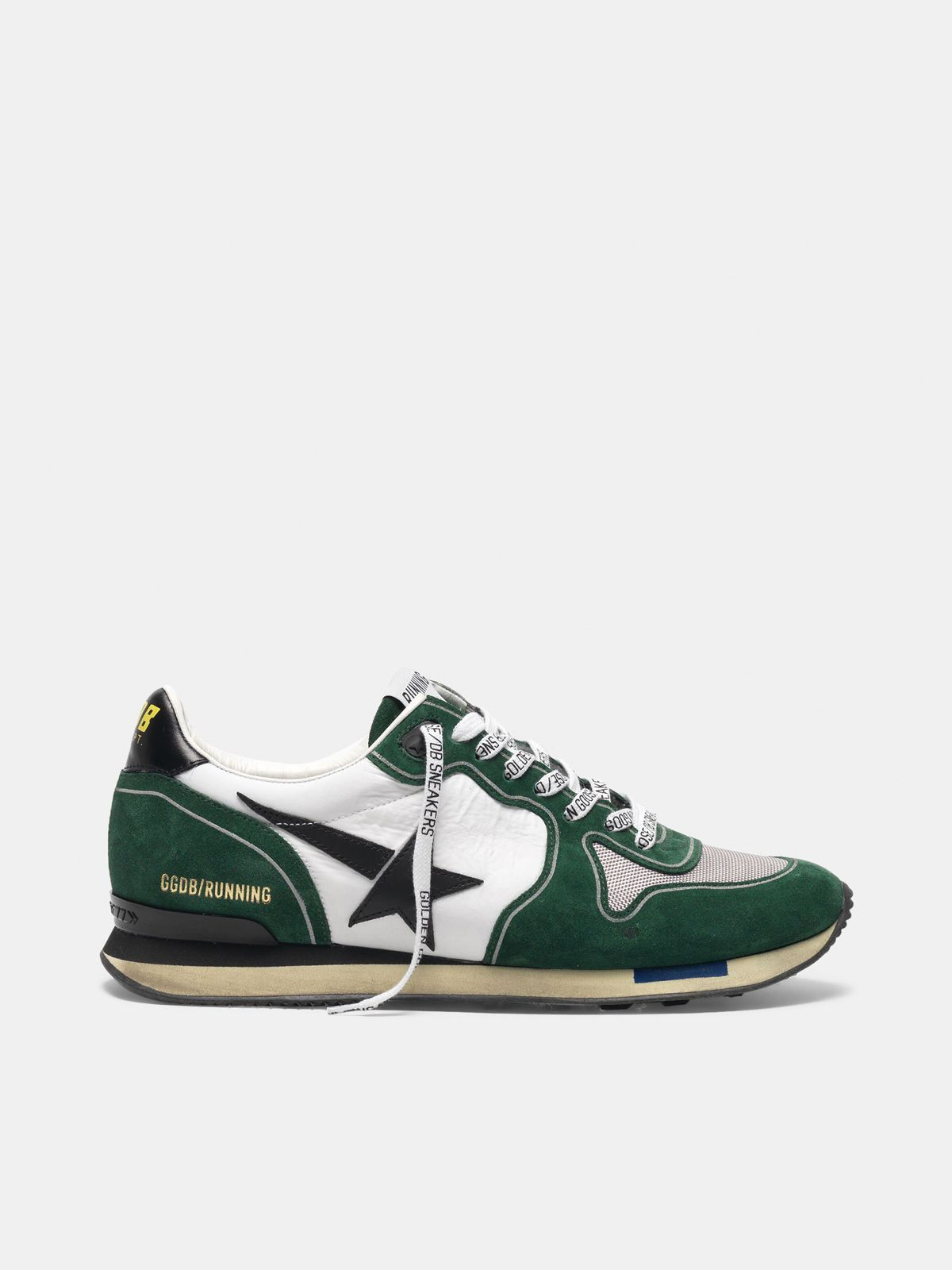 Golden Goose - White and green Running sneakers in suede in